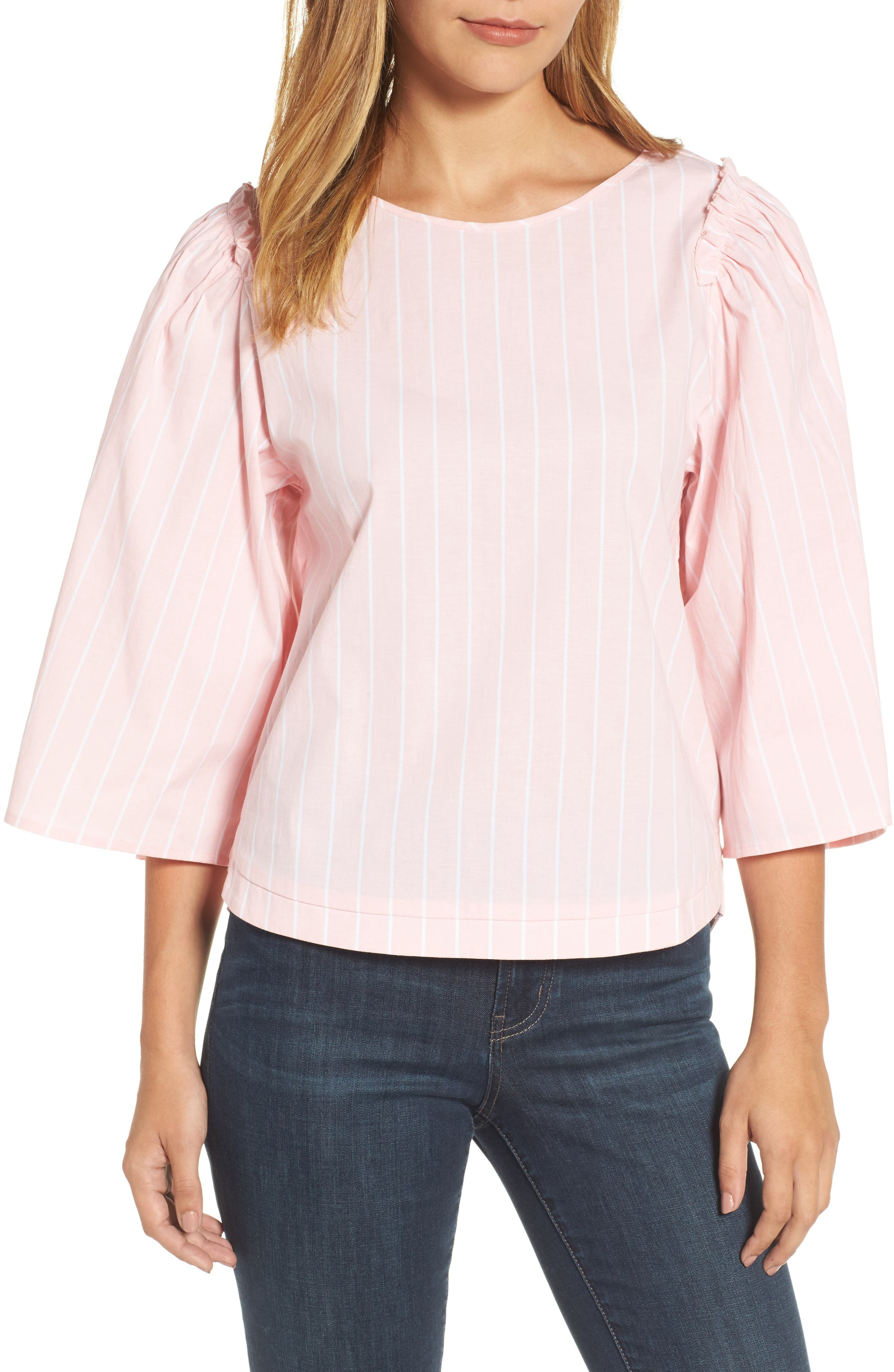 Main Image - Halogen® Bell Sleeve Stripe Blouse