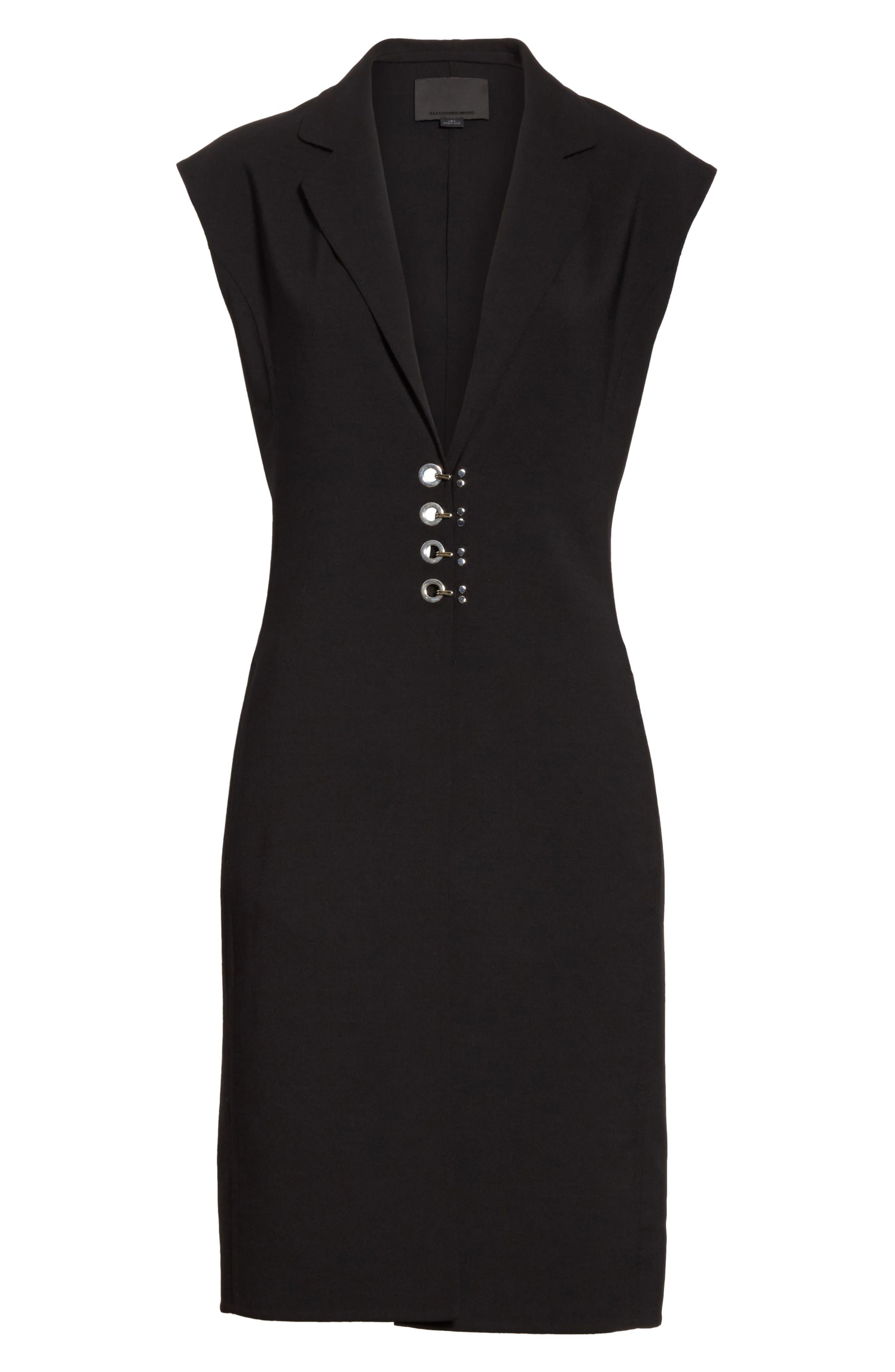 Hook Detail Stretch Wool Long Vest,                             Alternate thumbnail 6, color,                             Black/ Black