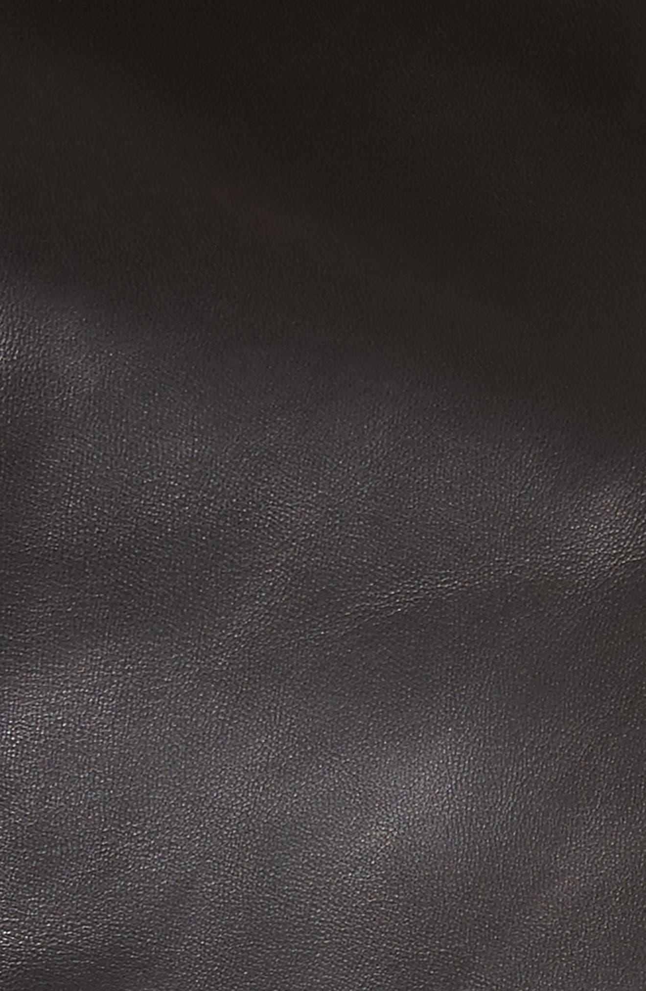 Hook Detail Lambskin Leather Jacket,                             Alternate thumbnail 5, color,                             Black