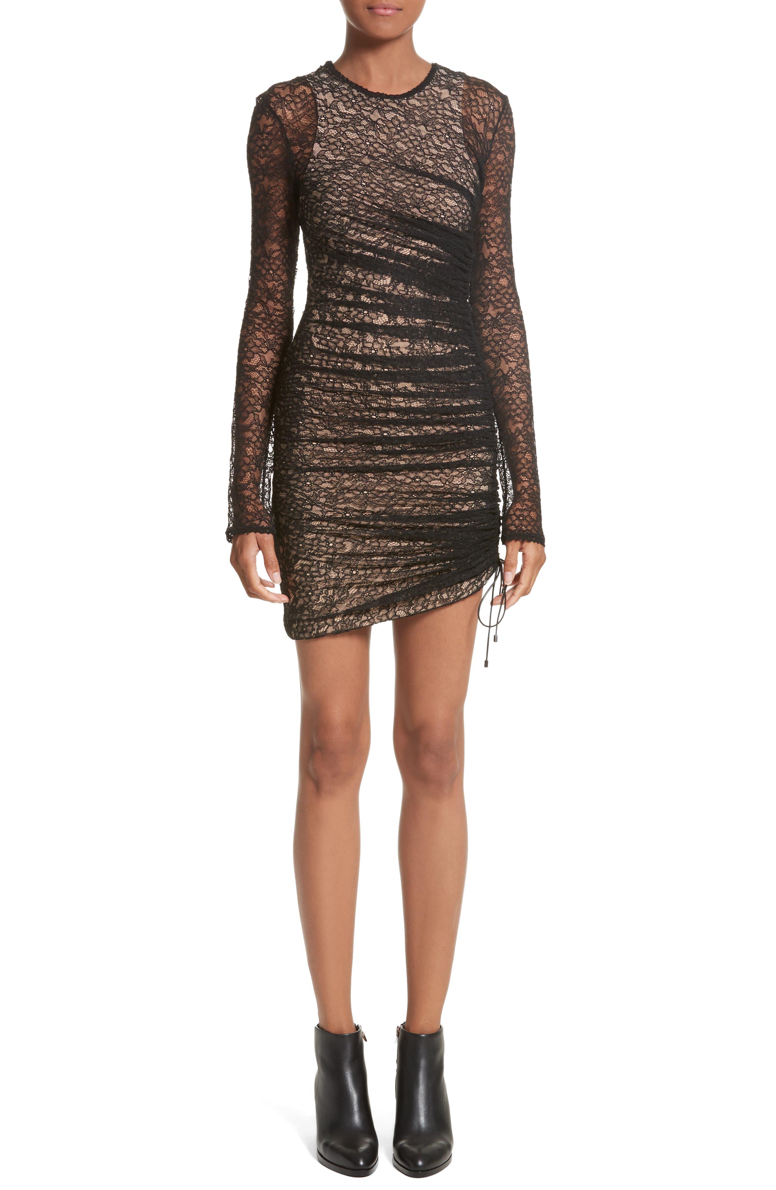 Ruched Lace Dress,                         Main,                         color, Black