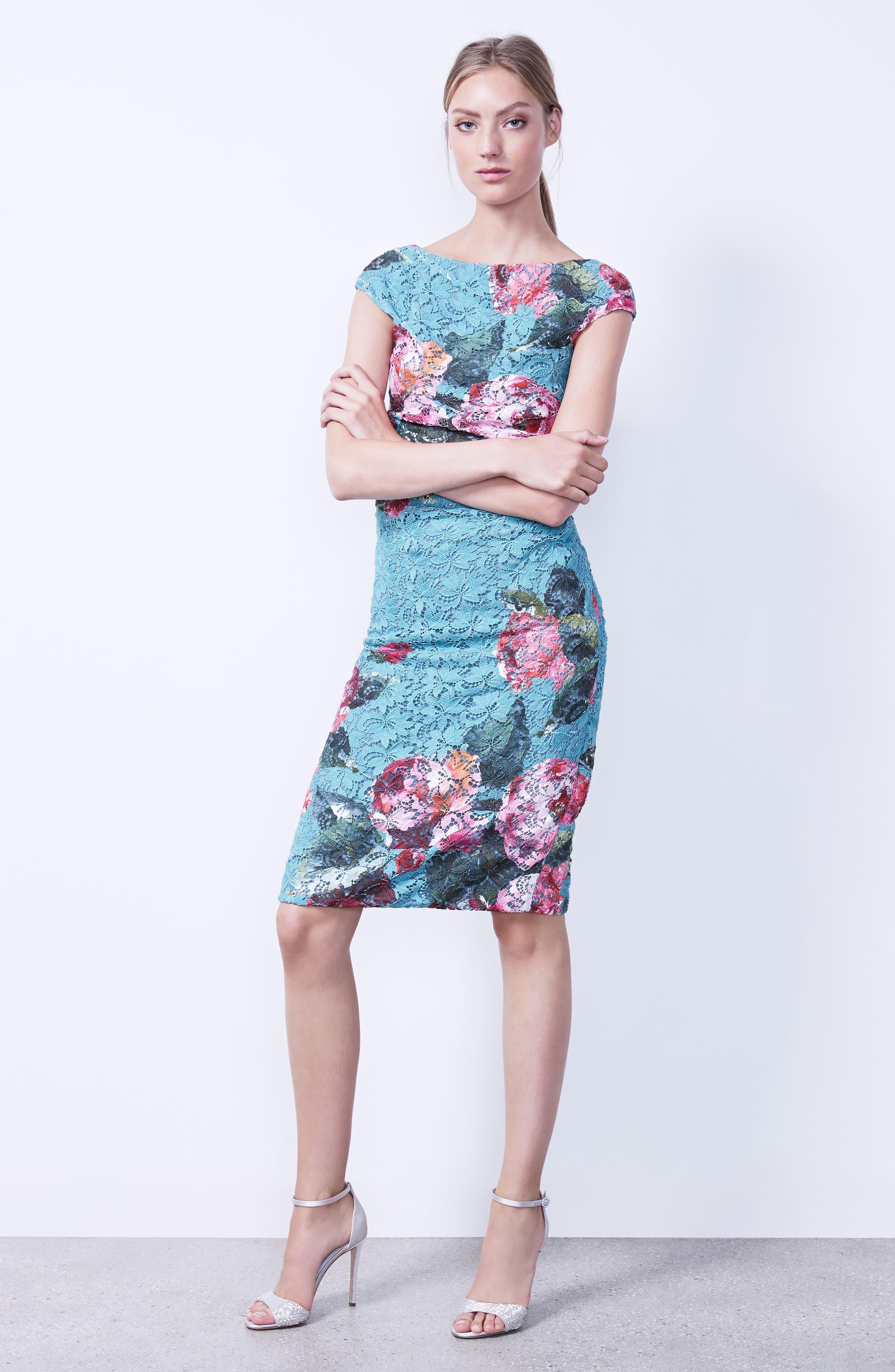 Alternate Image 2  - Monique Lhuillier Rose Print Guipure Sheath Dress