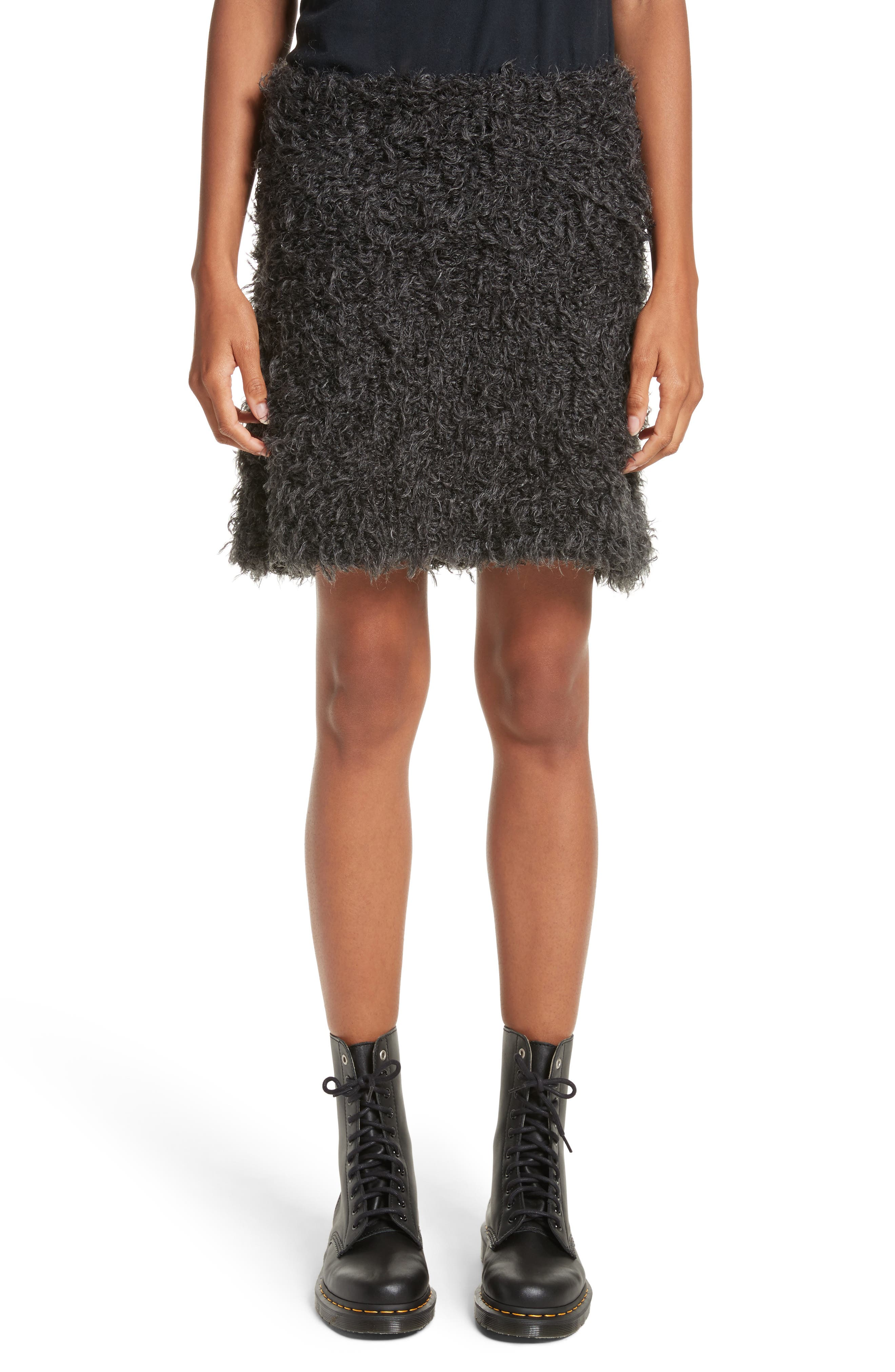 Fuzzy Miniskirt,                         Main,                         color, Charcoal