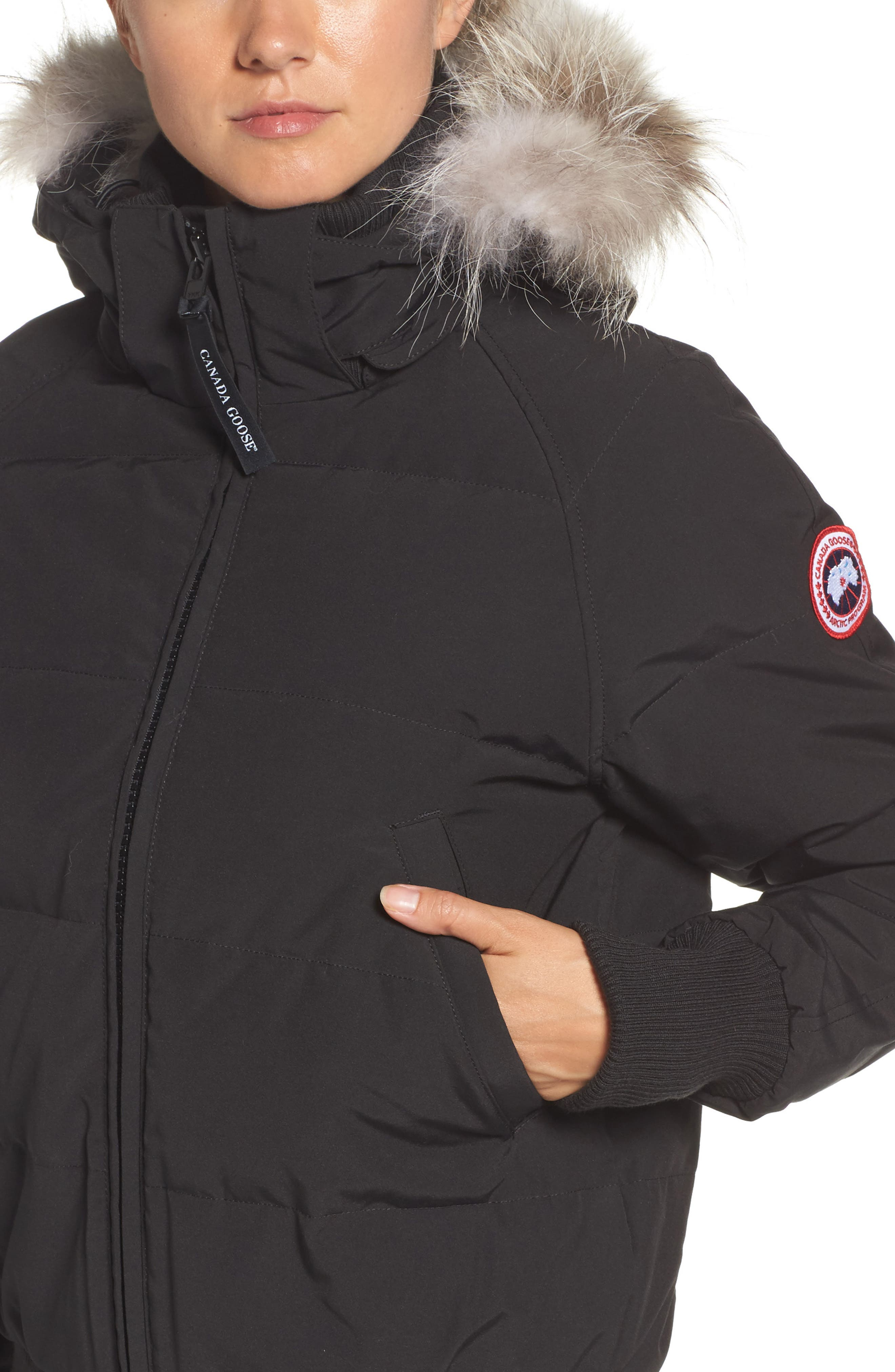 'Savona' Bomber Jacket with Genuine Coyote Fur Trim,                             Alternate thumbnail 4, color,                             Black