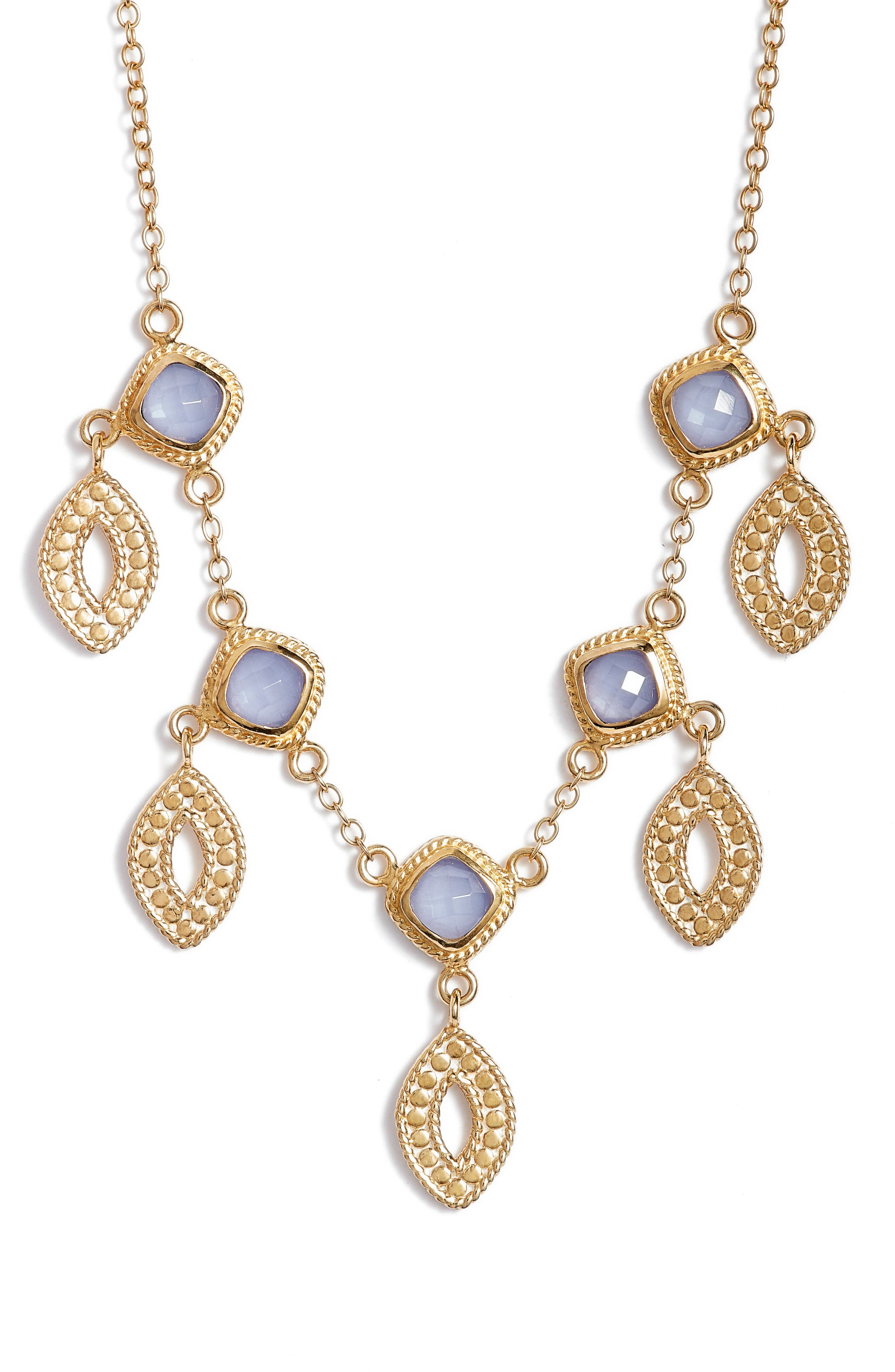Charm Necklace,                         Main,                         color, Gold/ Blue Chalcedony