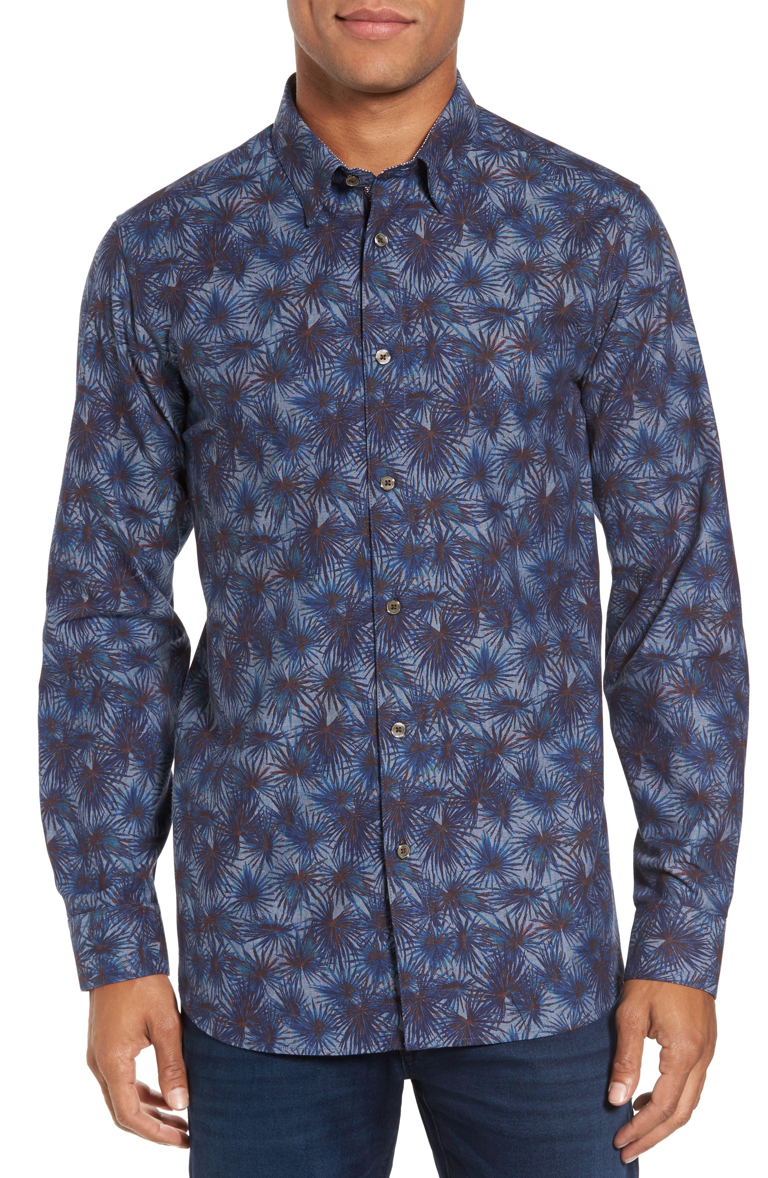Modern Slim Fit Palm Print Sport Shirt,                         Main,                         color, Blue