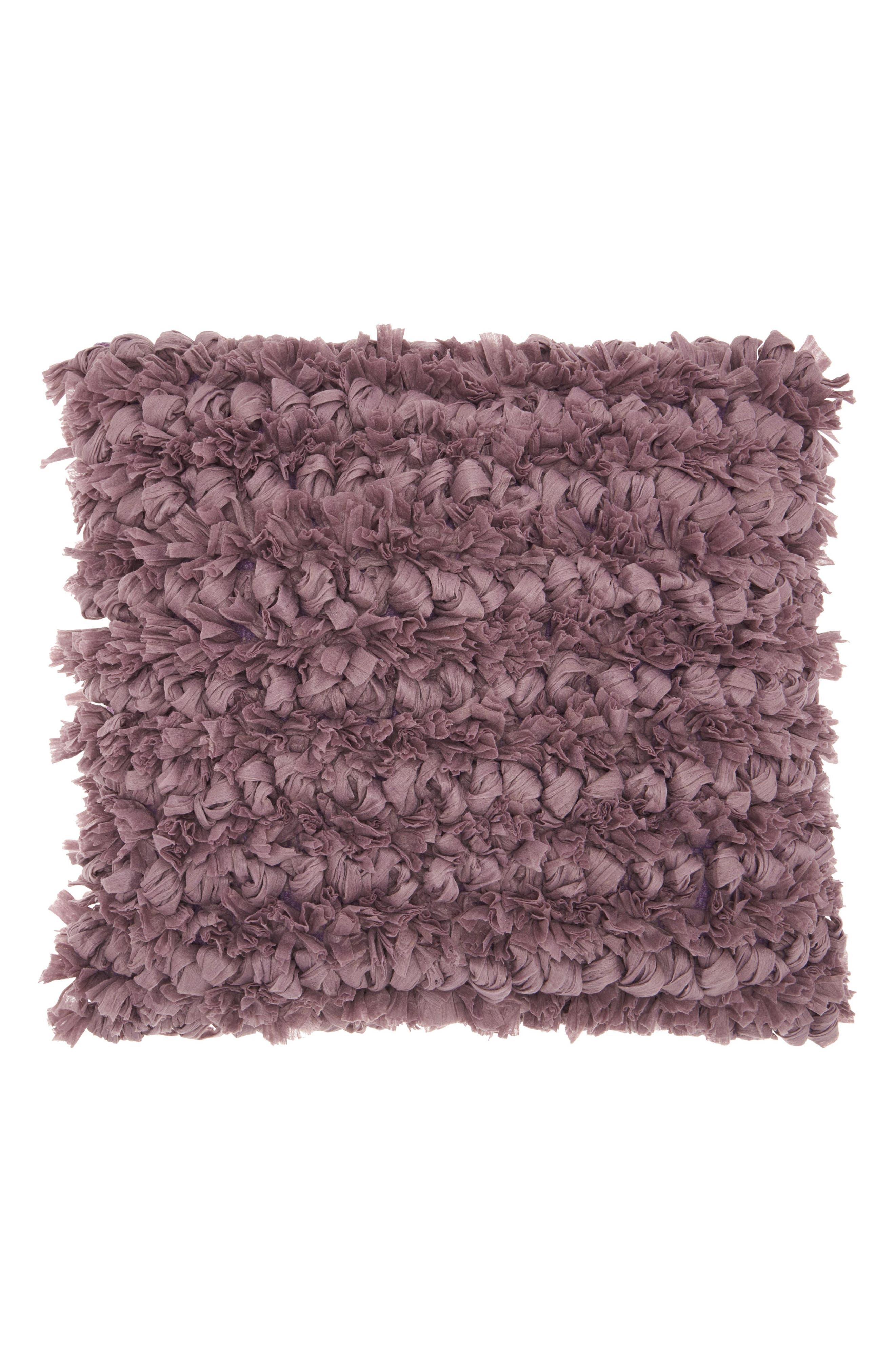 Paper Chindi Loop Shag Accent Pillow,                         Main,                         color, Lavender