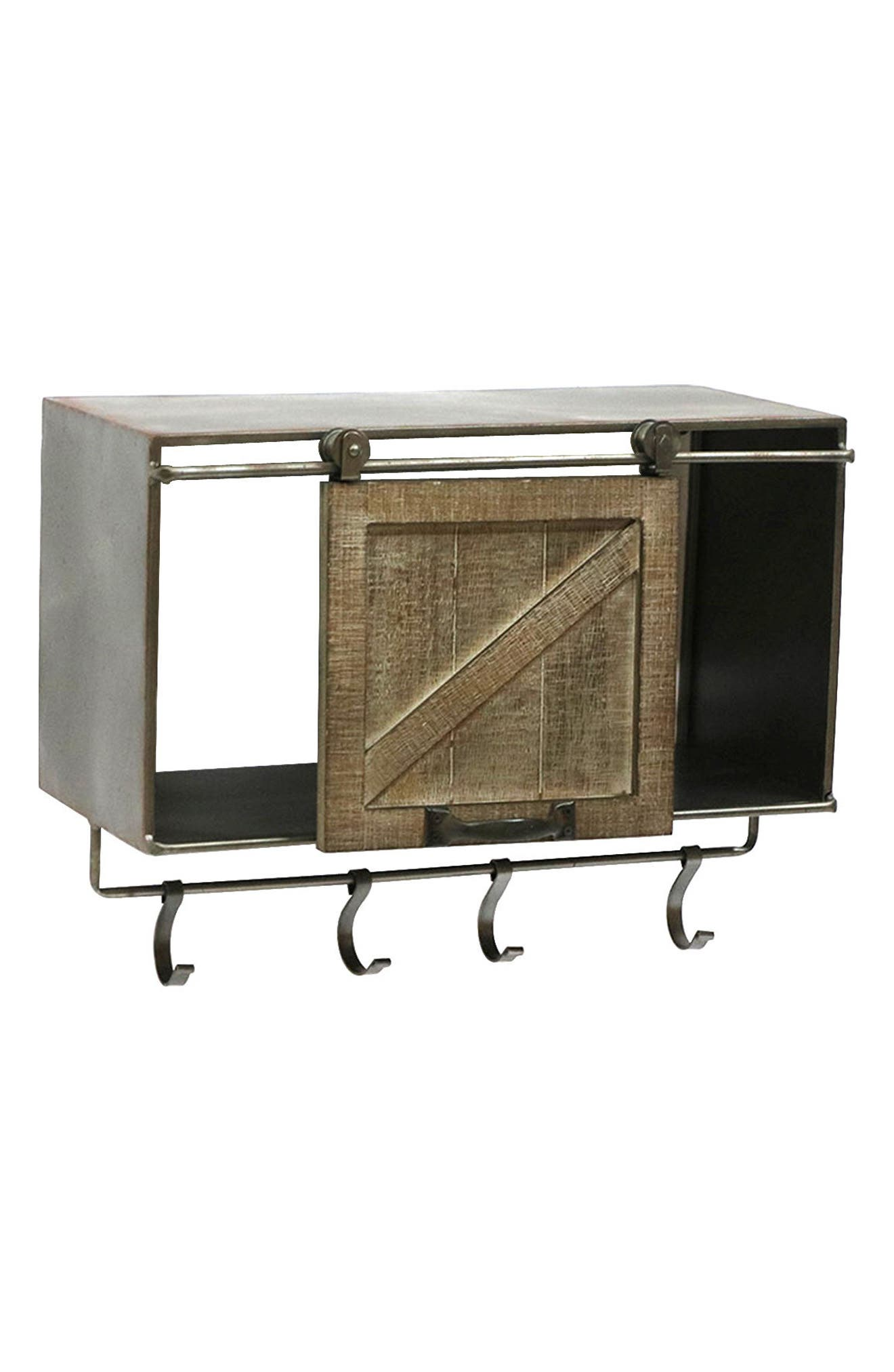 Main Image - Crystal Art Gallery Metal & Wood Wall Cabinet with Hooks