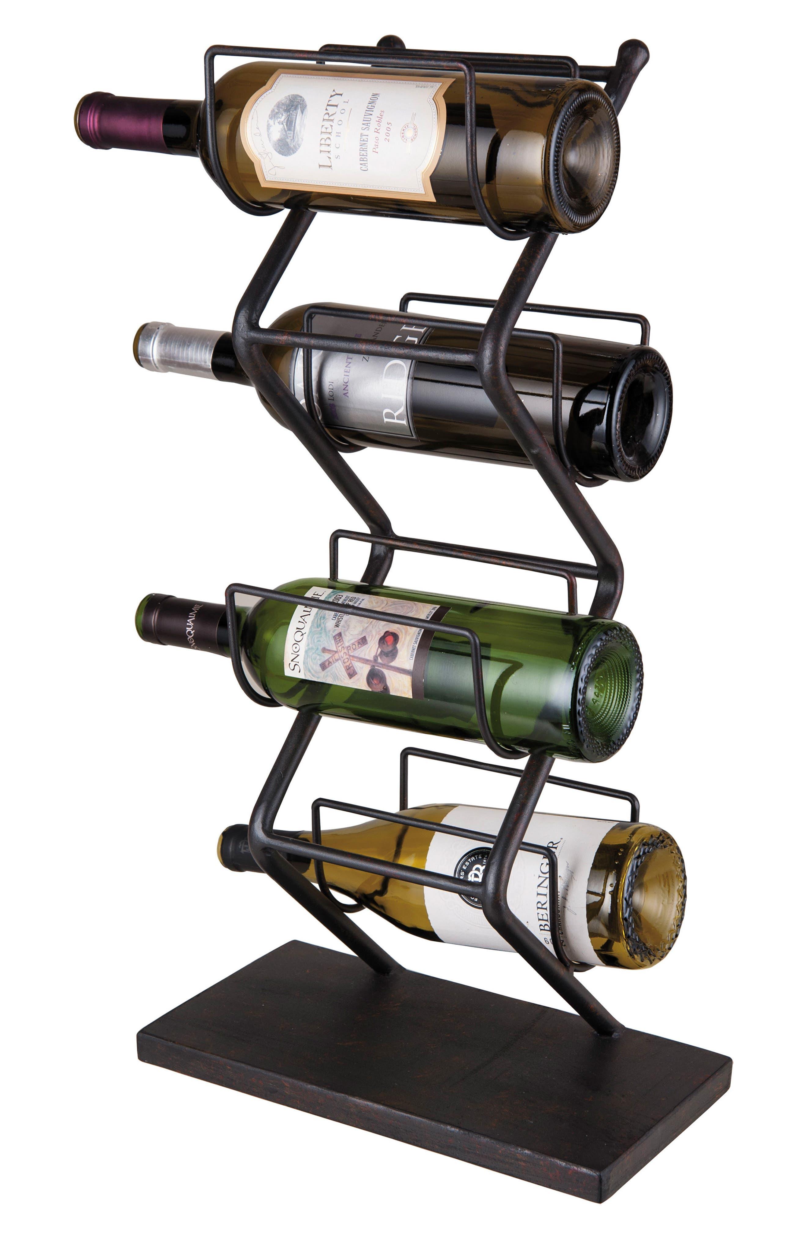 4-Bottle Wine Rack,                         Main,                         color, Metal