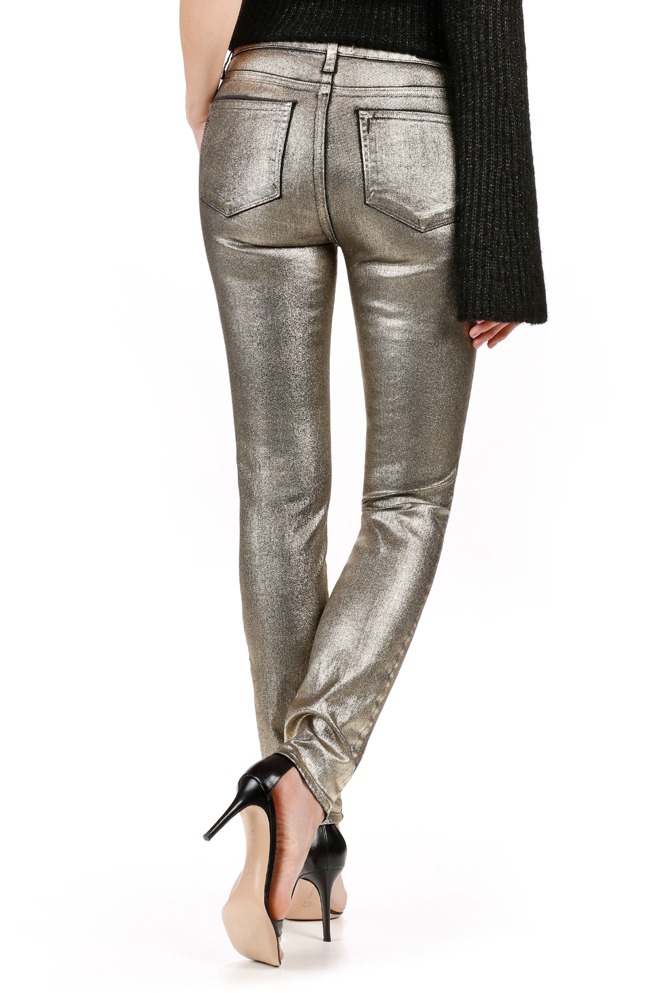 Alternate Image 2  - Rosie HW x PAIGE Stevie High Waist Skinny Jeans (Gold Galaxy Coating)