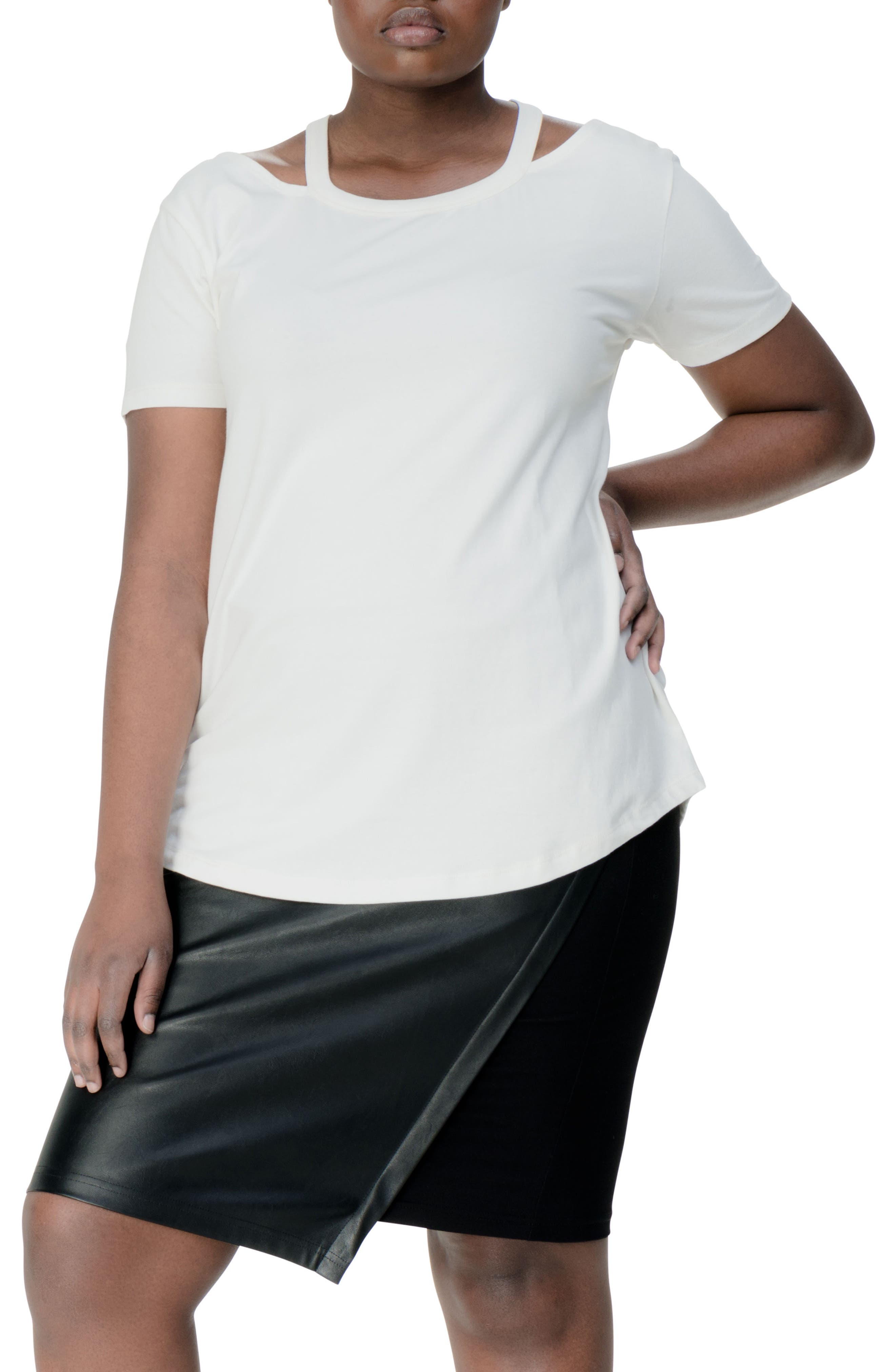 Alternate Image 1 Selected - UNIVERSAL STANDARD Cutout Neck Tee (Plus Size)