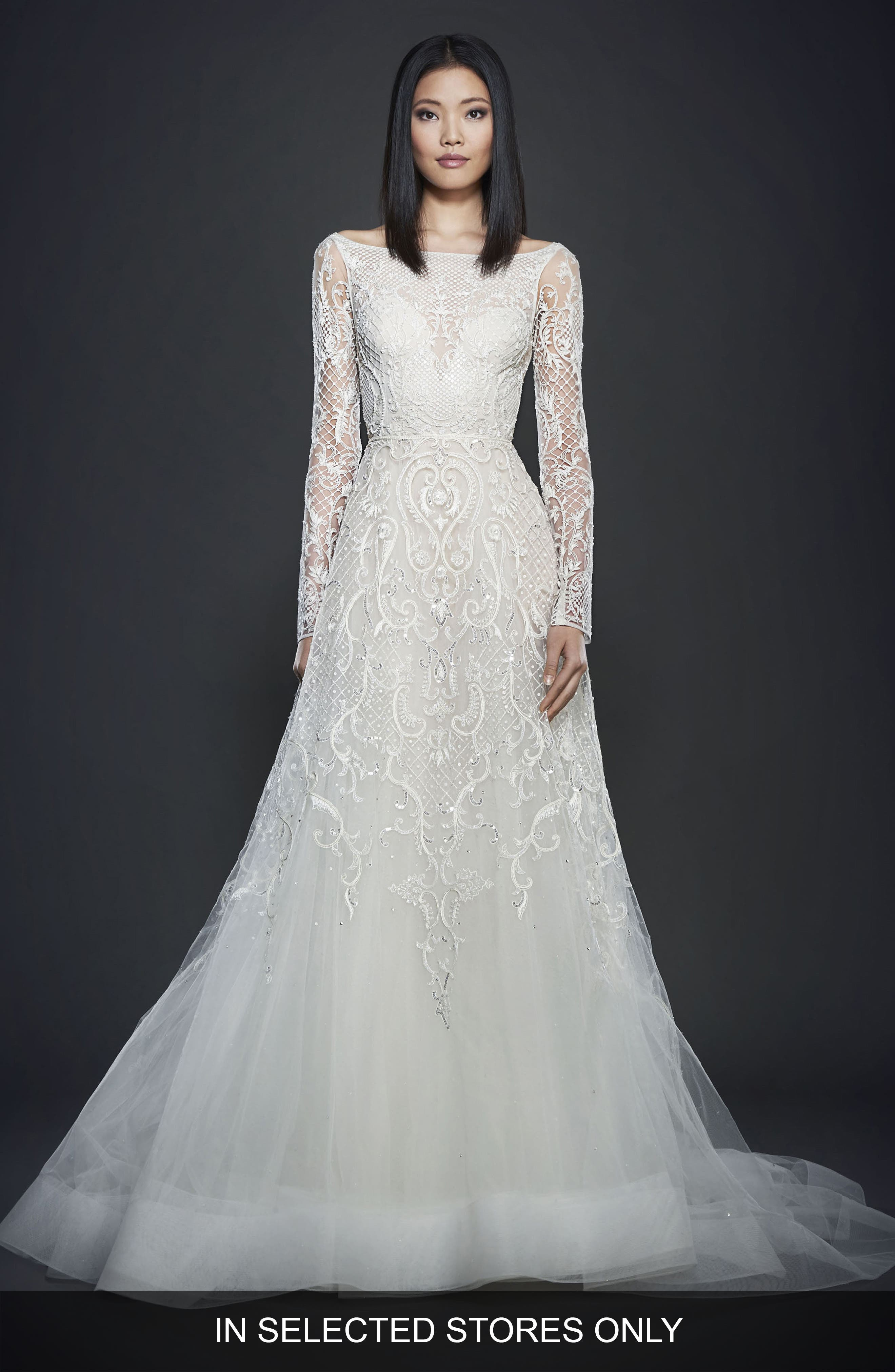 Beaded A-Line Gown,                         Main,                         color, Ivory