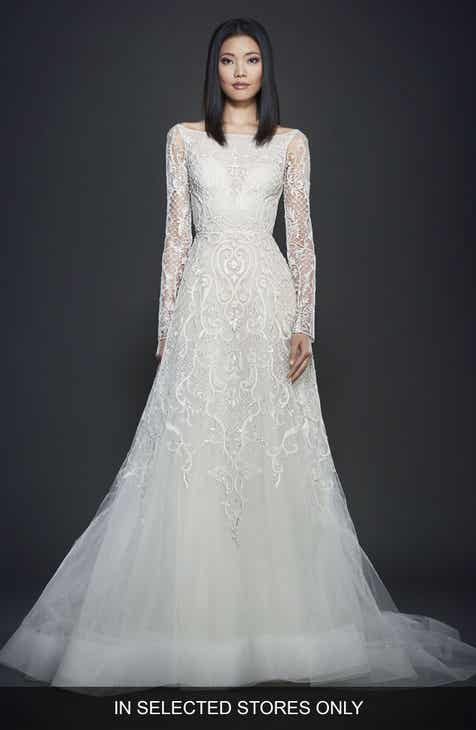Lazaro Beaded A Line Gown
