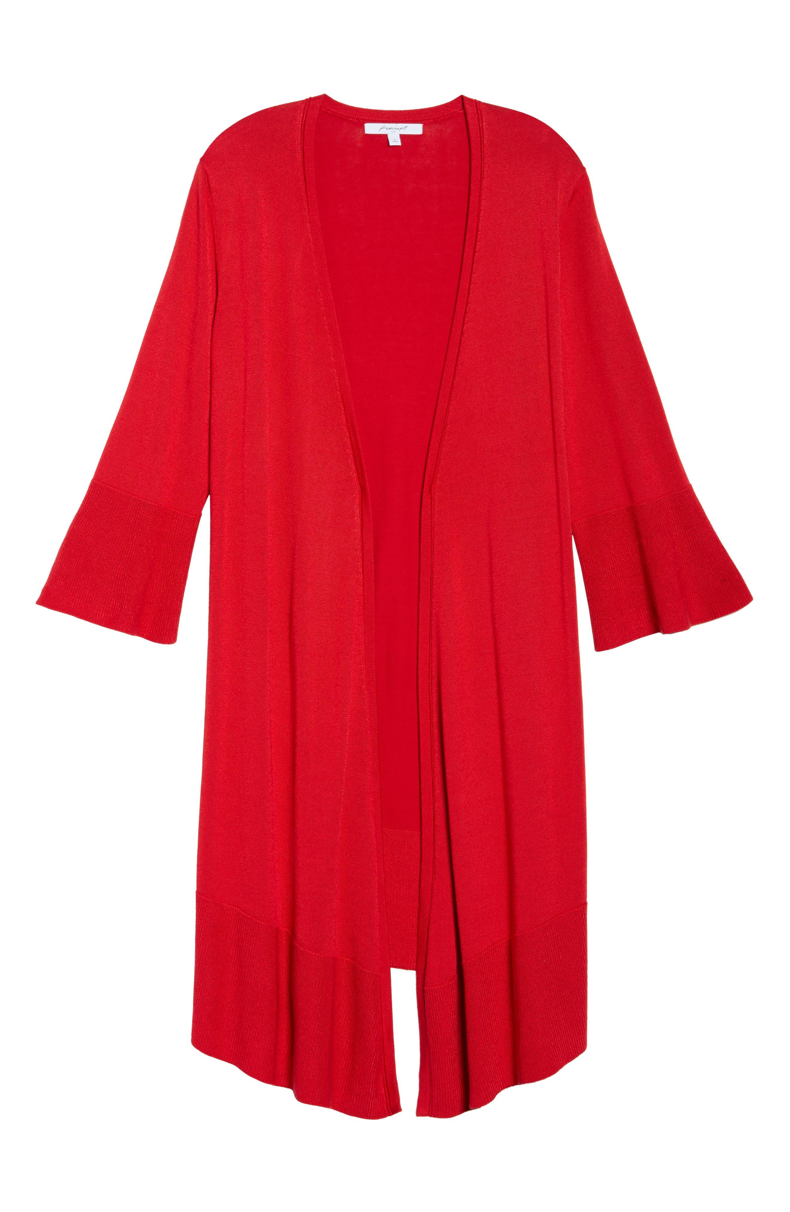 Mila Bell Sleeve Long Cardigan,                             Alternate thumbnail 6, color,                             Scarlet