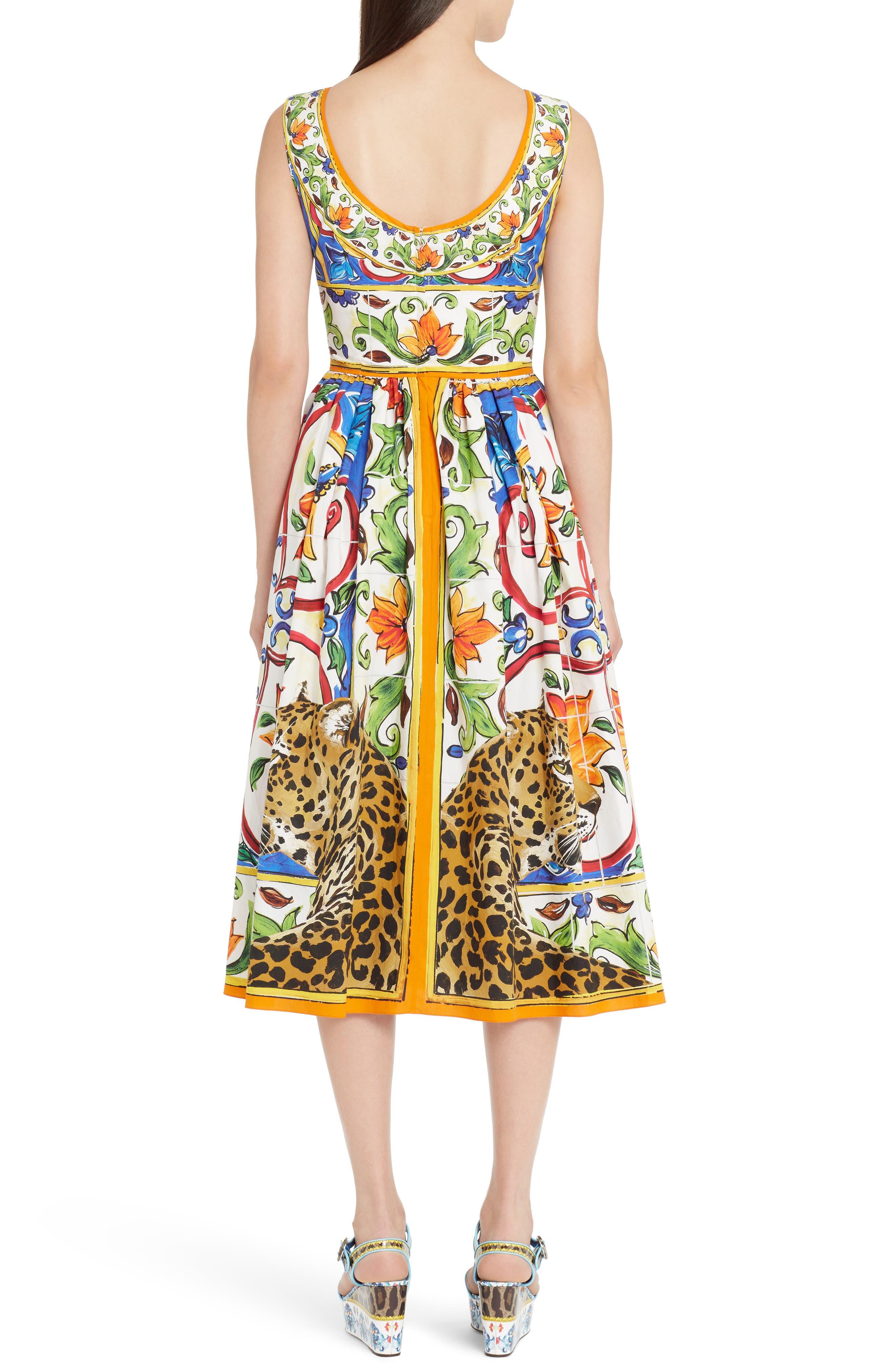 Maiolica Print Fit & Flare Dress,                             Alternate thumbnail 2, color,                             Print