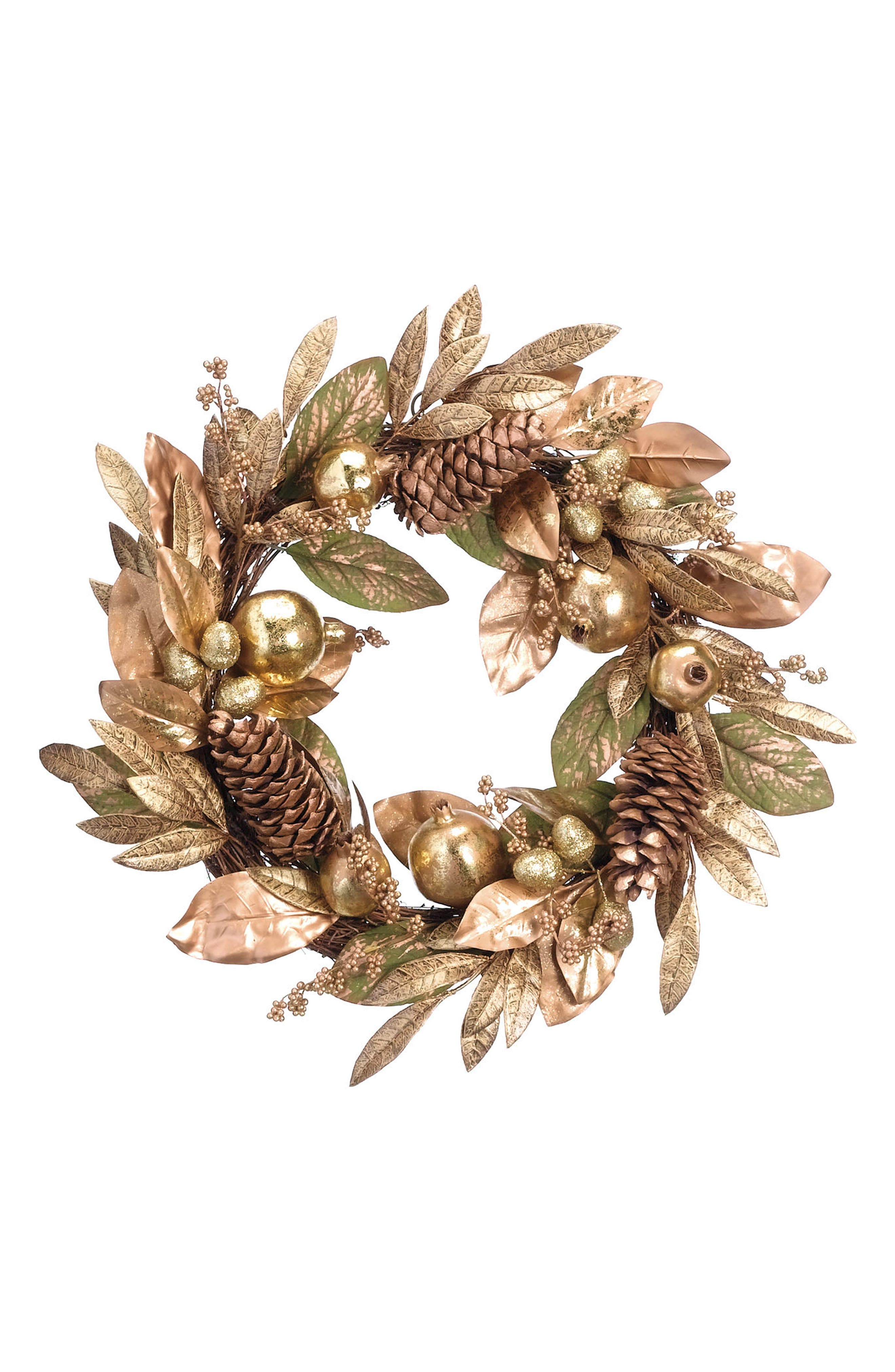 Pomegranate Berry Wreath,                         Main,                         color, Gold