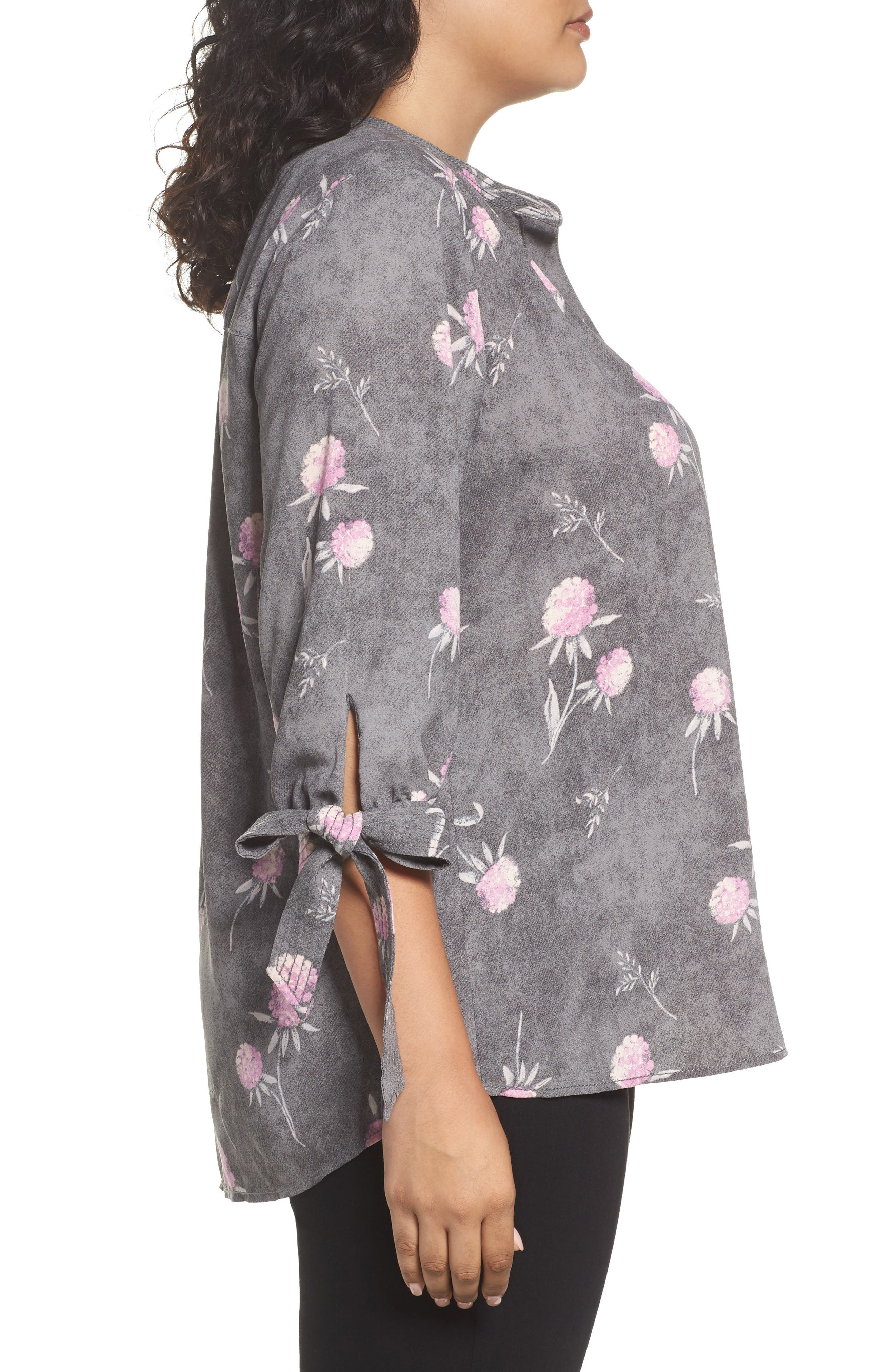Tie Sleeve Blouse,                             Alternate thumbnail 4, color,                             Grey Enchanted Floral