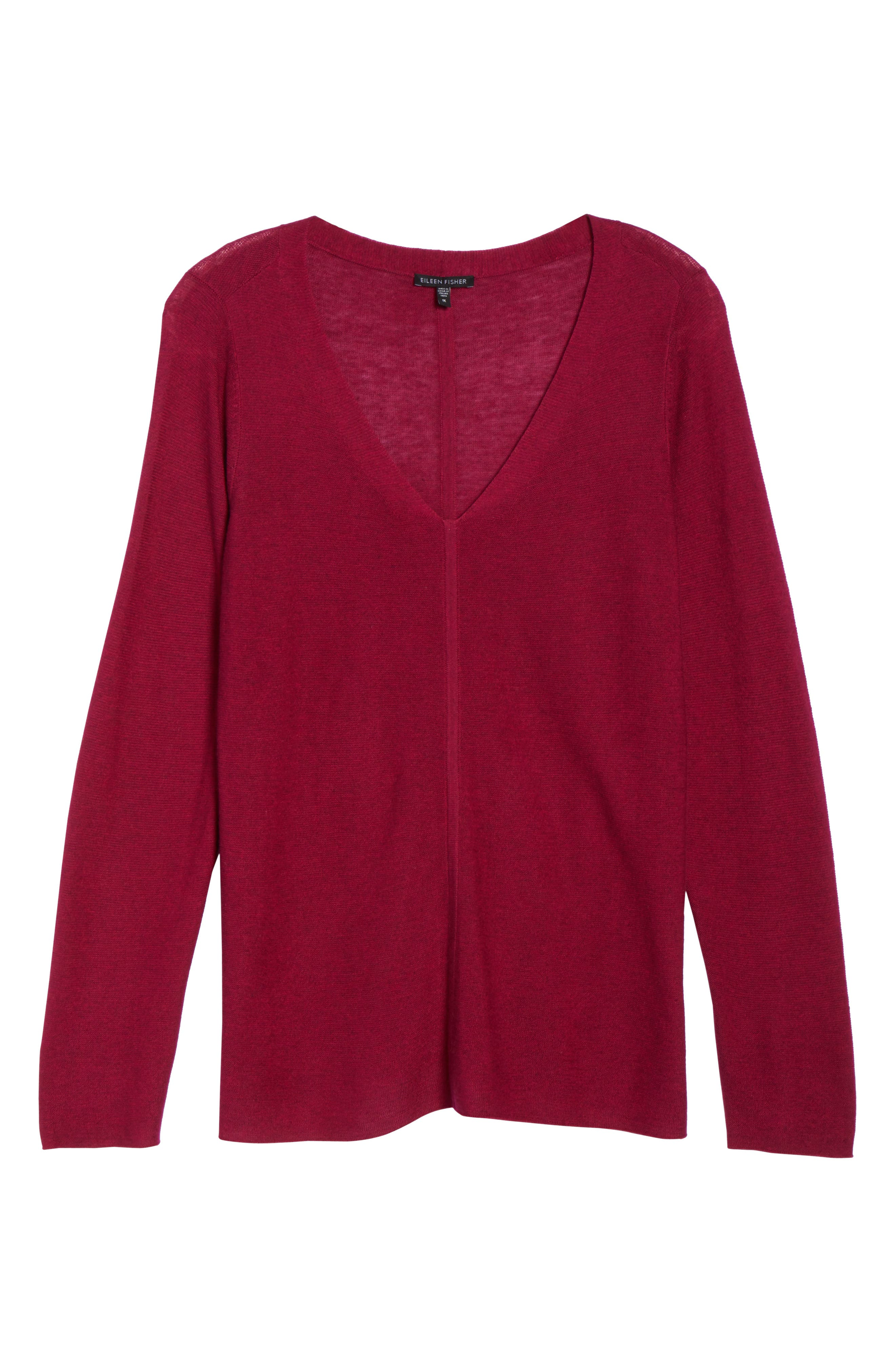 V-Neck Sweater,                             Alternate thumbnail 6, color,                             Hibiscus