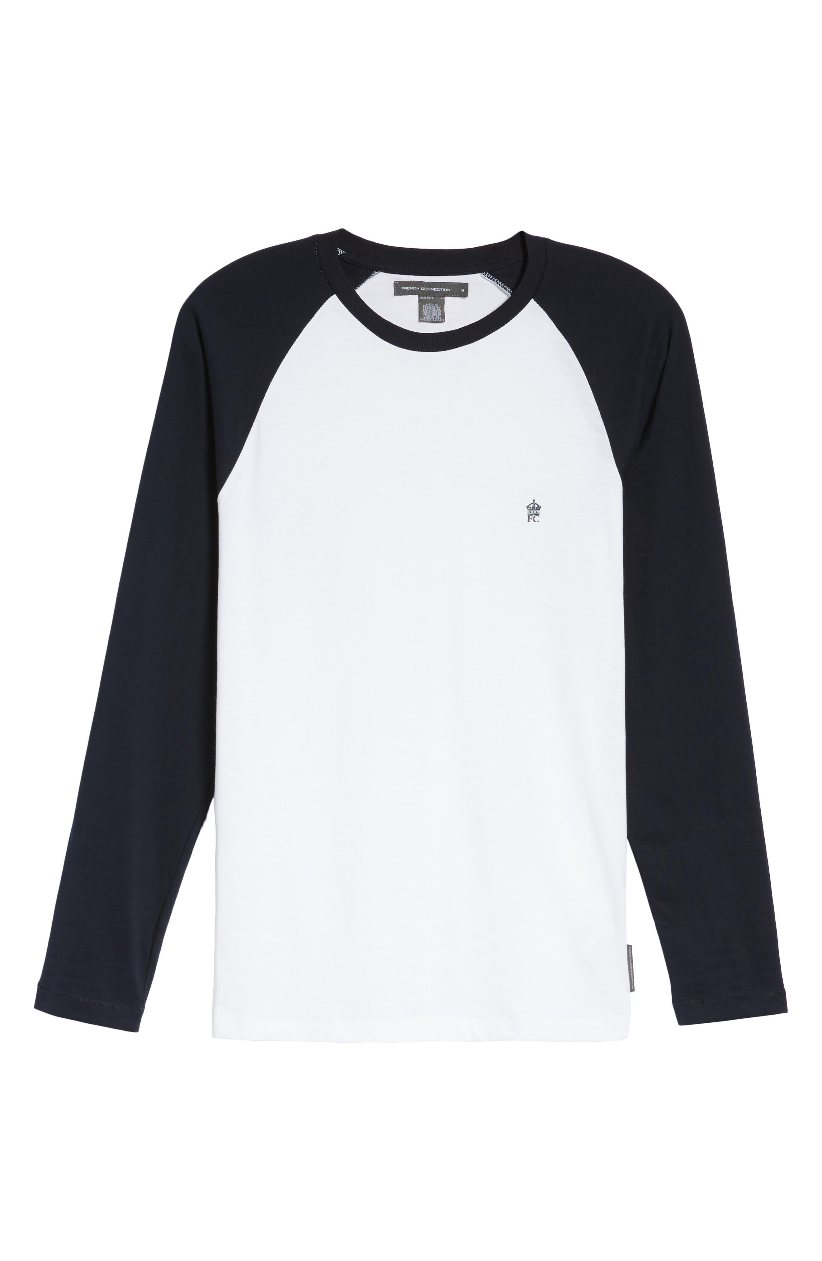 Slim Fit Long Sleeve Raglan T-Shirt,                             Alternate thumbnail 6, color,                             White/ Marine