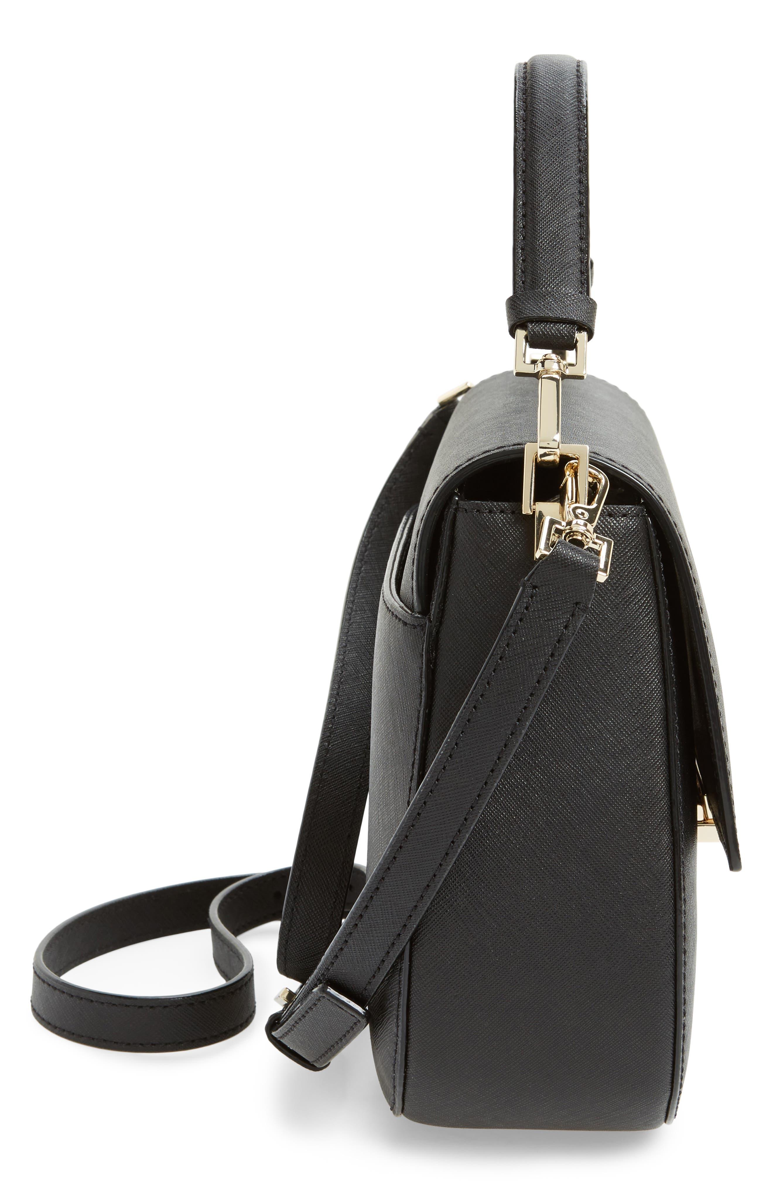 make it mine - byrdie leather saddle bag,                             Alternate thumbnail 4, color,                             Black