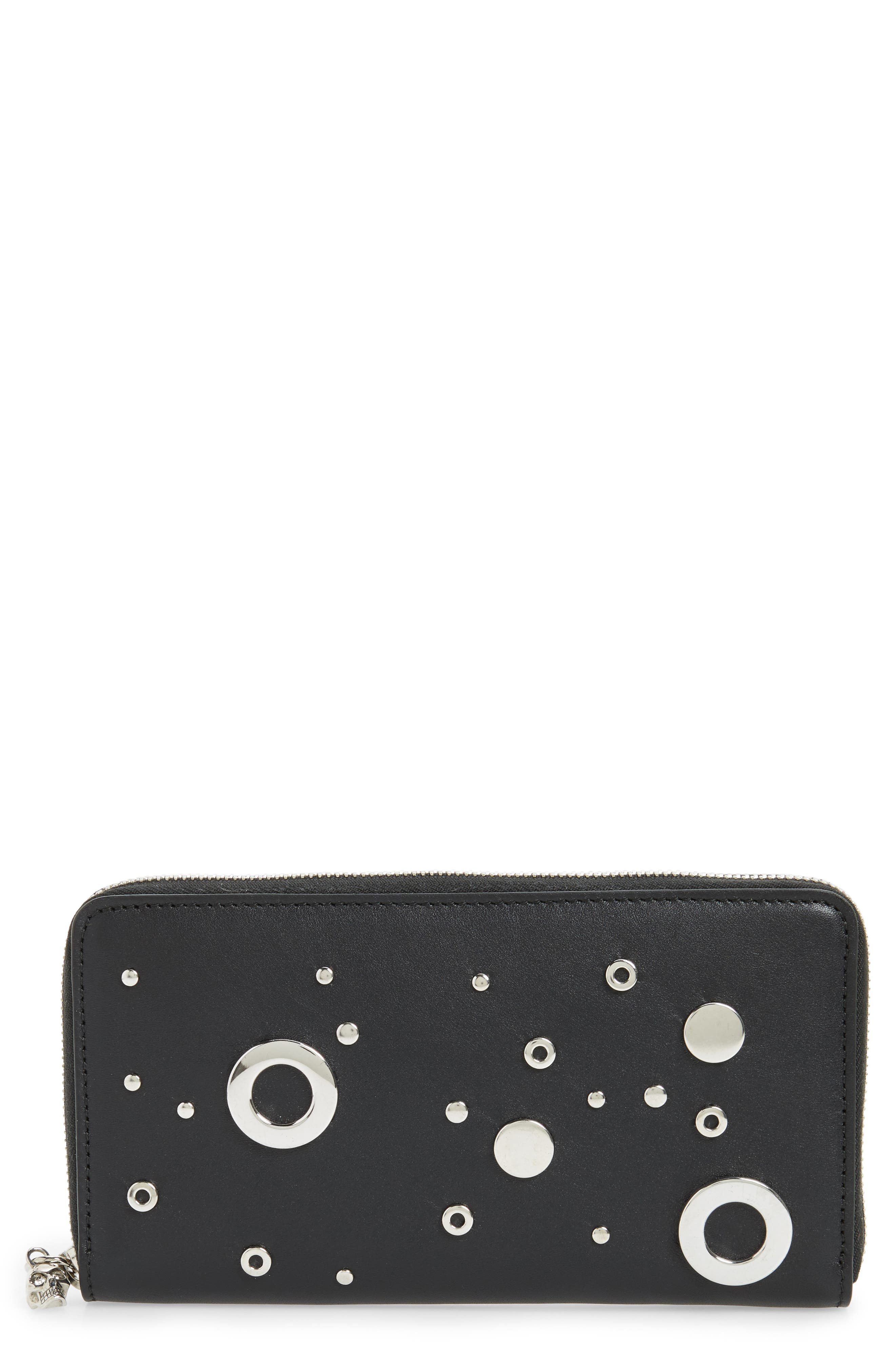 Grommet & Stud Calfskin Leather Continental Wallet,                         Main,                         color, Black