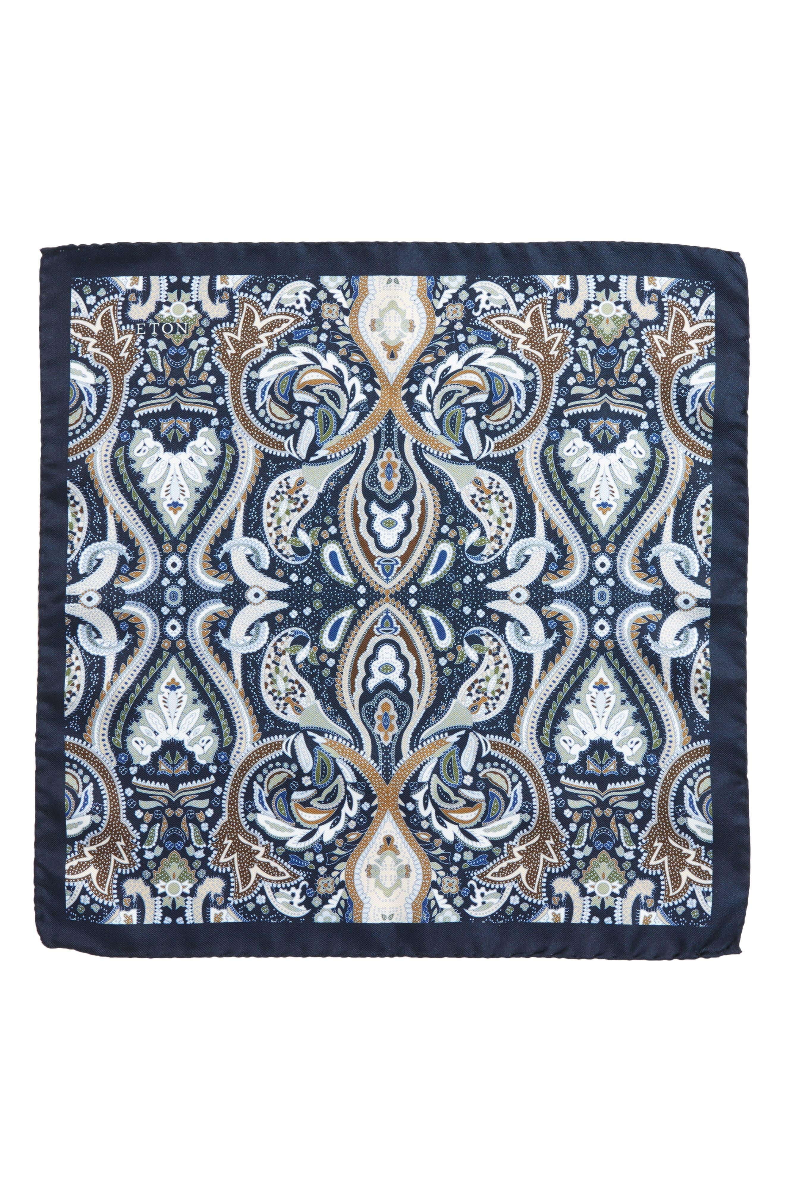Paisley Silk Pocket Square,                             Alternate thumbnail 2, color,                             Blue