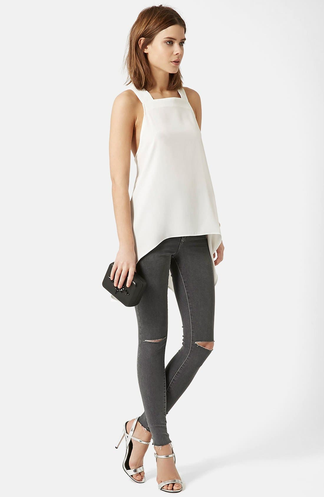 Alternate Image 5  - Topshop Moto 'Joni' Ripped Skinny Jeans (Grey) Regular and Short