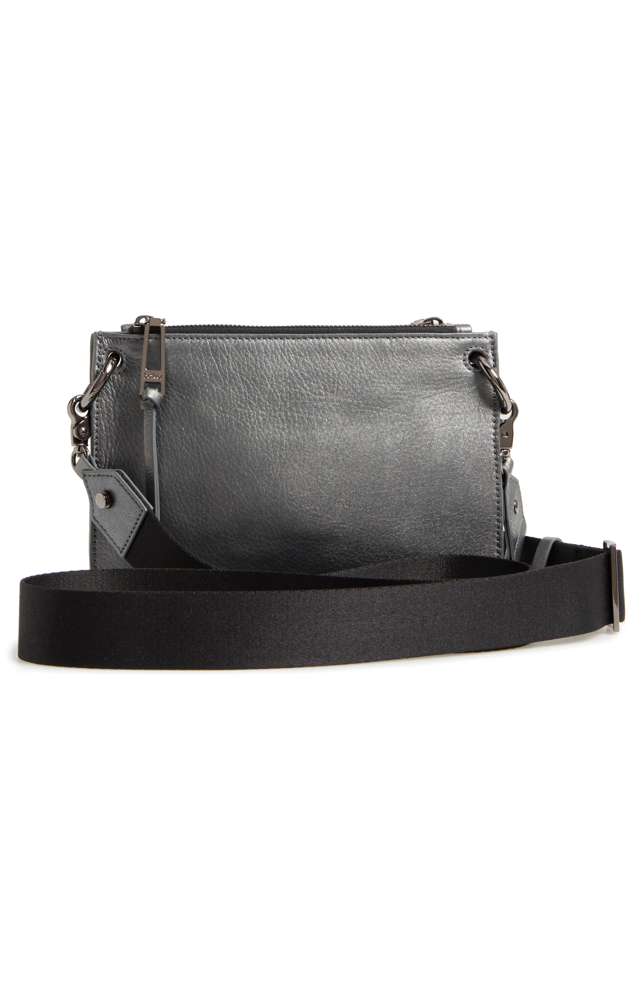 Bleeker Leather Double Shoulder Bag,                             Alternate thumbnail 3, color,                             Gunmetal