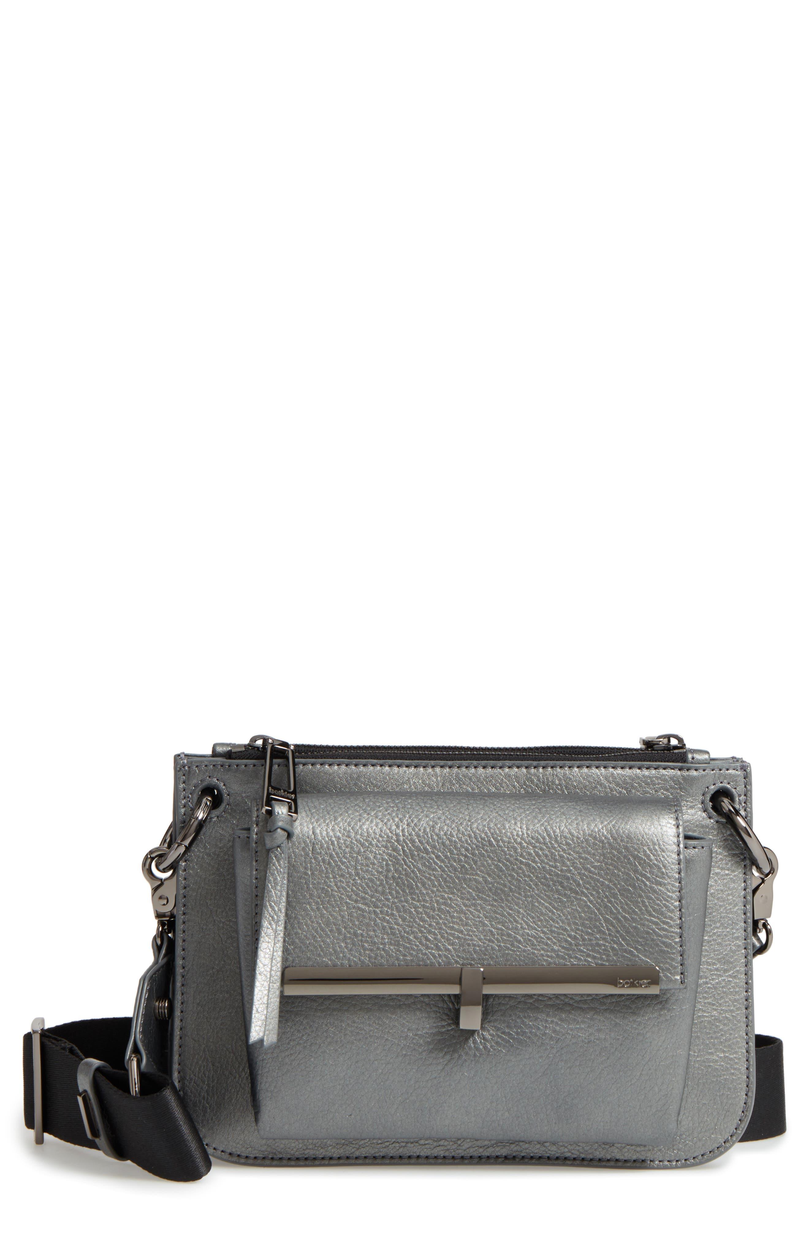 Bleeker Leather Double Shoulder Bag,                         Main,                         color, Gunmetal