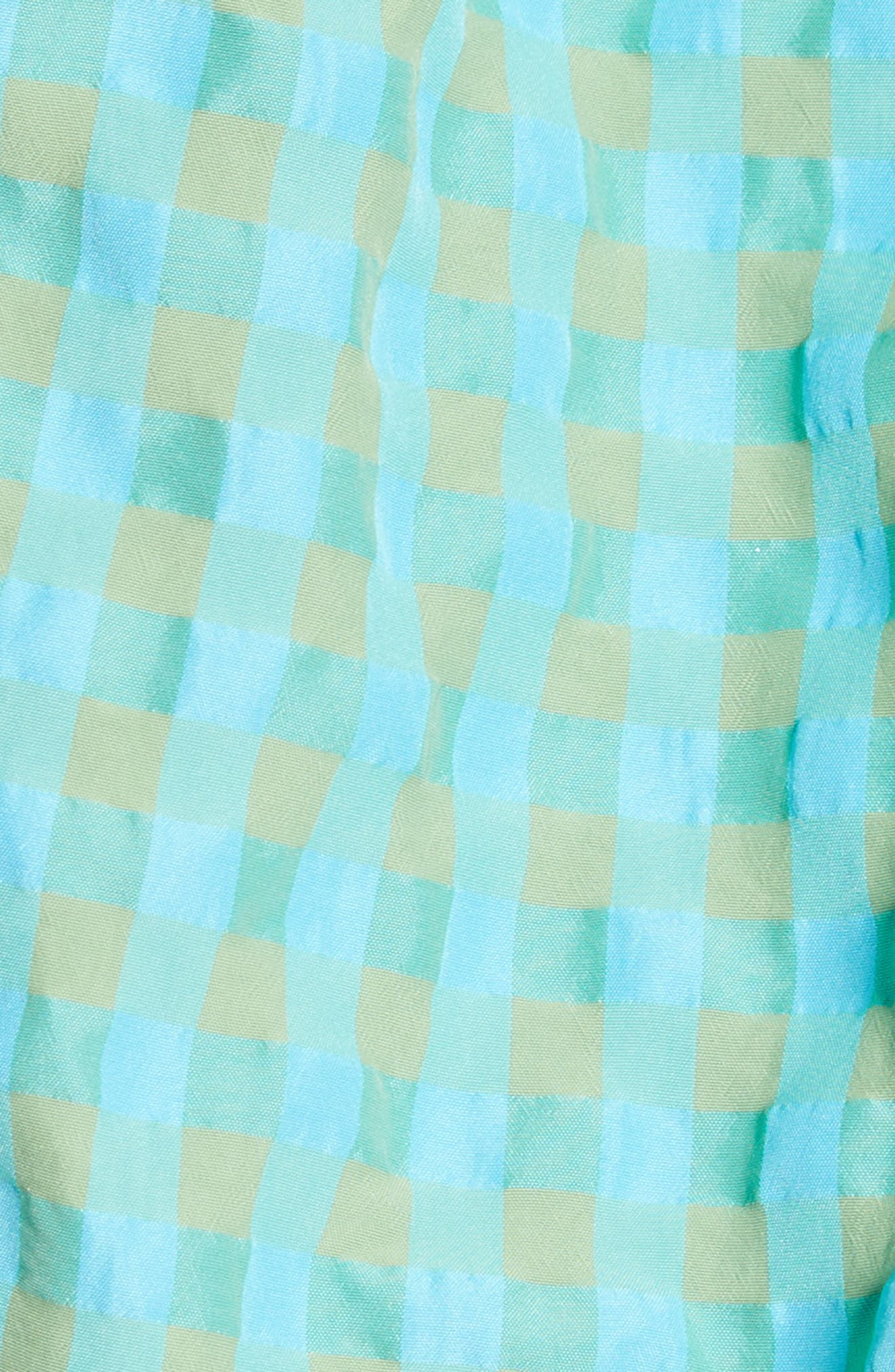 Marques'Almeida Off the Shoulder Gingham Top,                             Alternate thumbnail 5, color,                             Turquoise Gingham