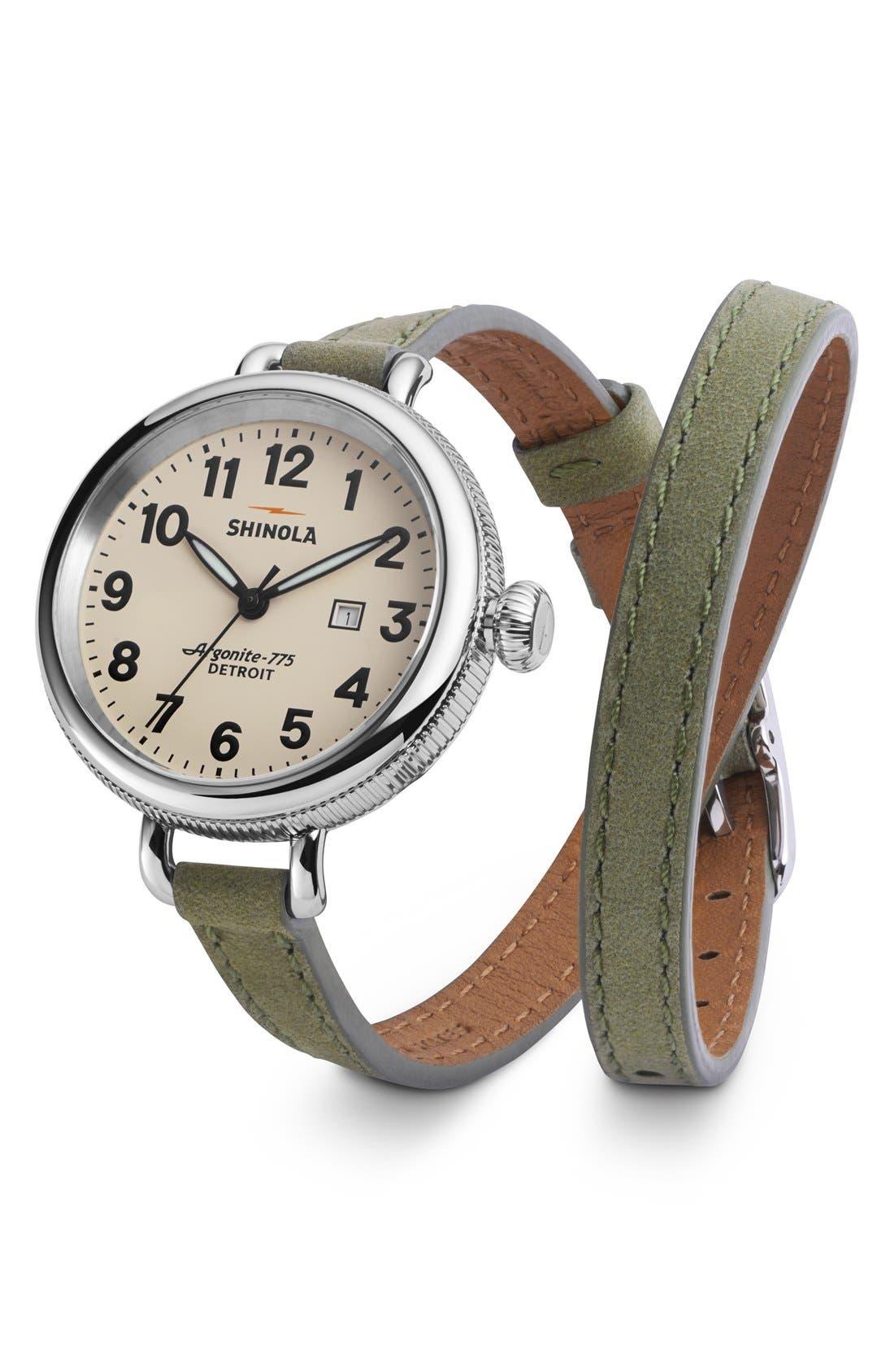 Alternate Image 4  - Shinola 'The Birdy' Double Wrap Leather Strap Watch, 34mm
