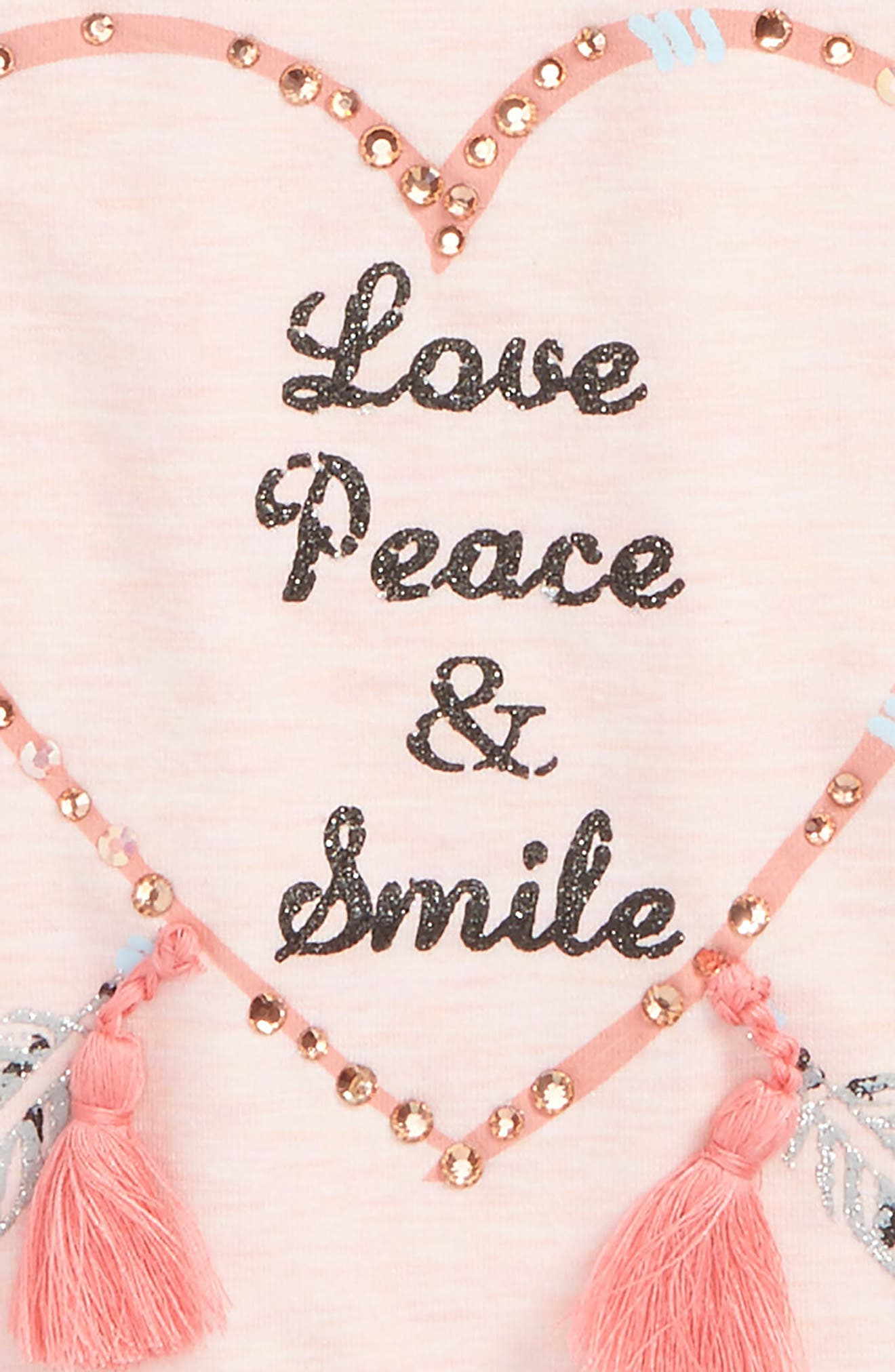 Love, Peace, Smile Embellished Graphic Tee,                             Alternate thumbnail 2, color,                             Light Pink