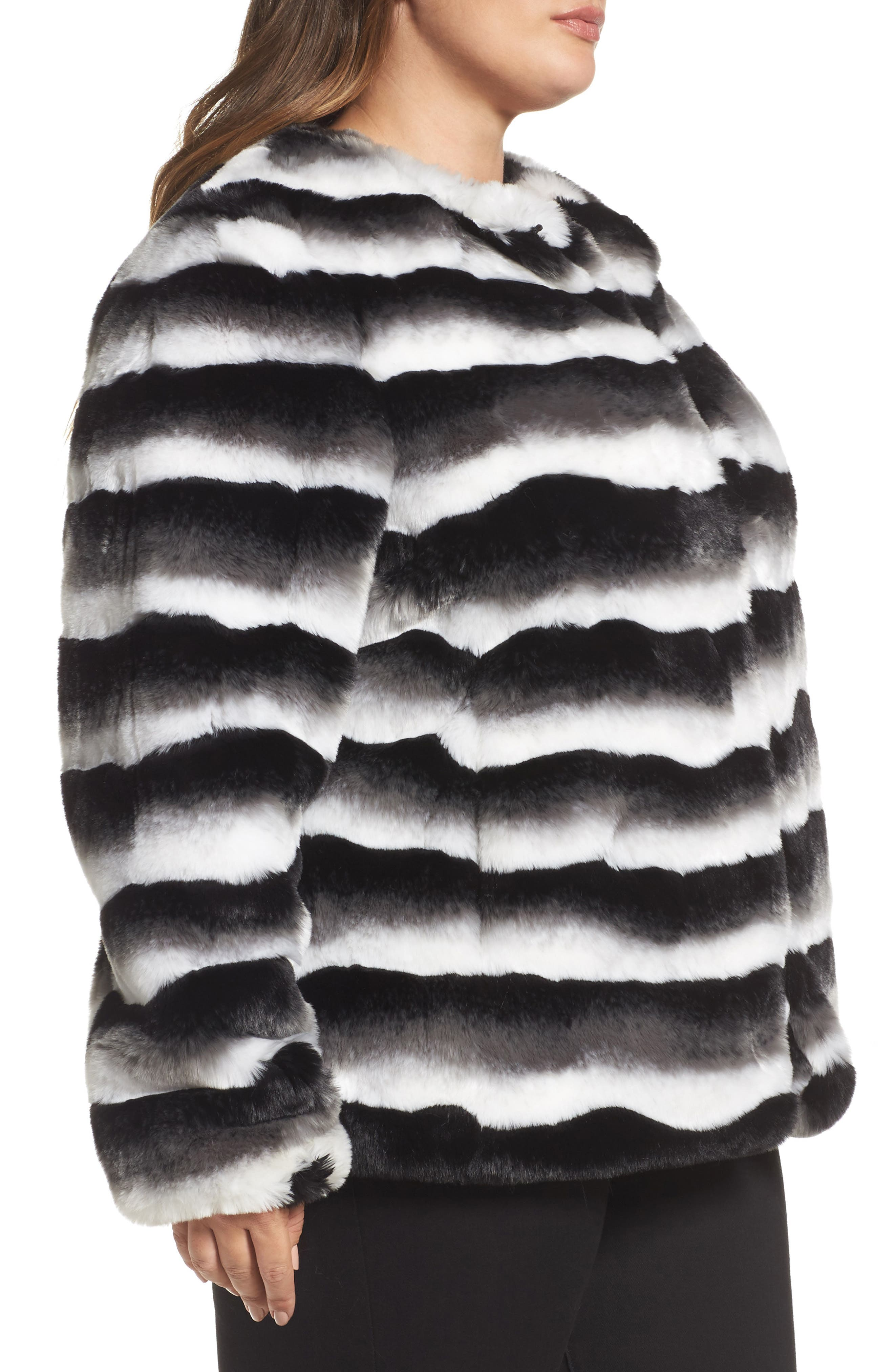Stripe Faux Fur Jacket,                             Alternate thumbnail 3, color,                             Black Beauty