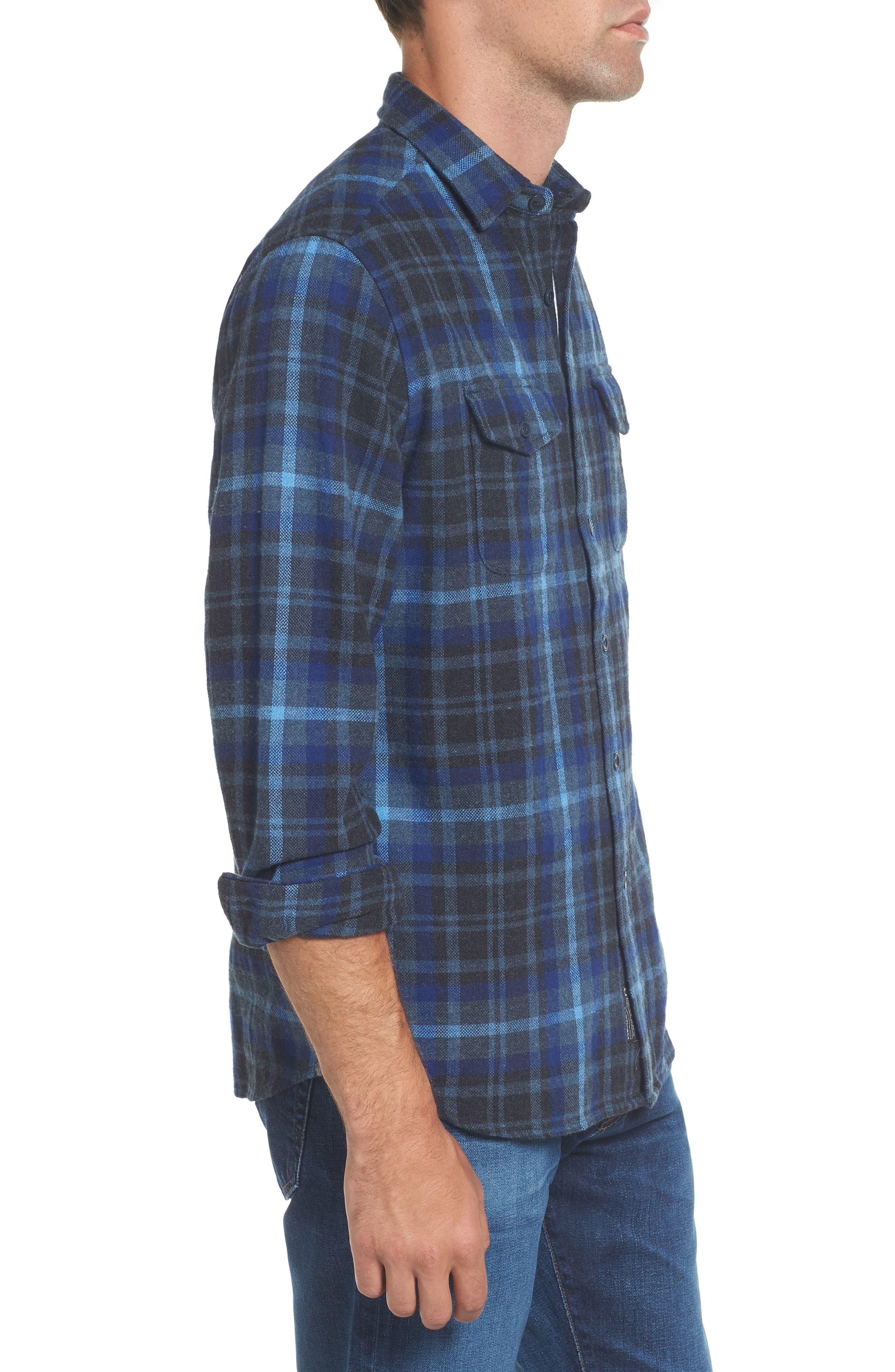 Barton Modern Fit Plaid Flannel Sport Shirt,                             Alternate thumbnail 3, color,                             Charcoal Royal Gray