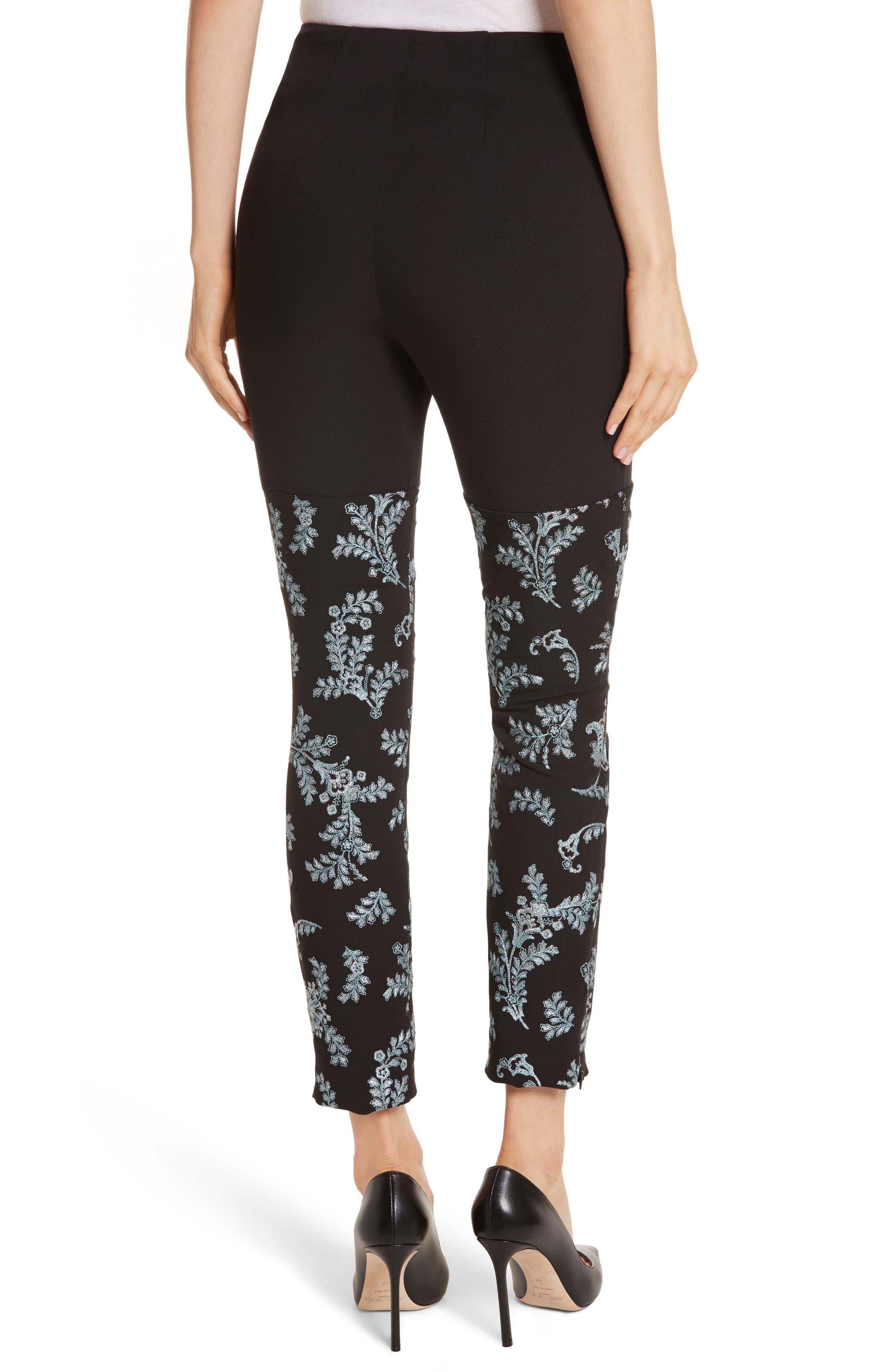 Marin Embroidered Leggings,                             Alternate thumbnail 3, color,                             Black/ Silver/ Sunshower