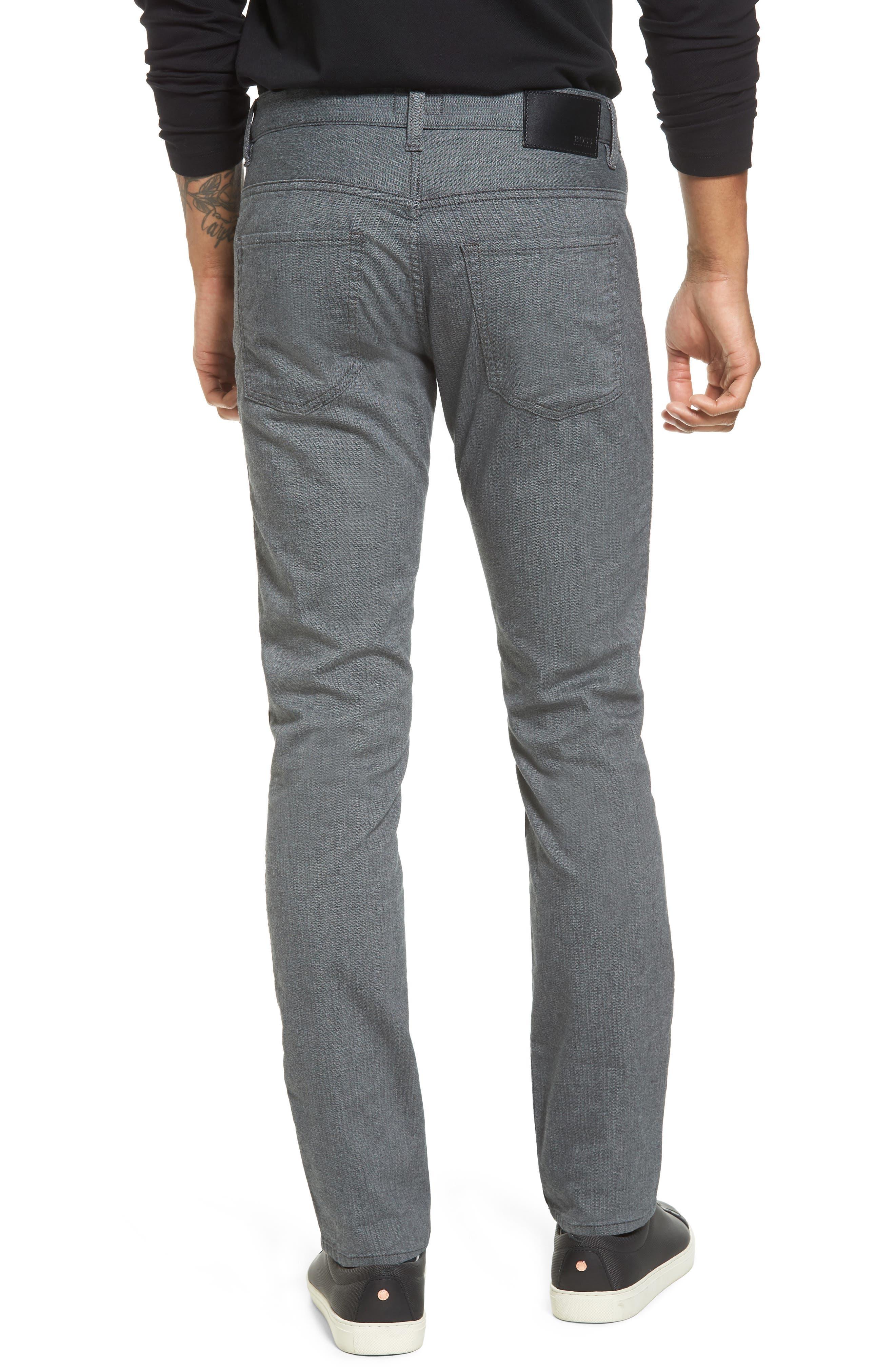 Delaware Slim Herringbone Five-Pocket Pants,                             Alternate thumbnail 2, color,                             Charcoal