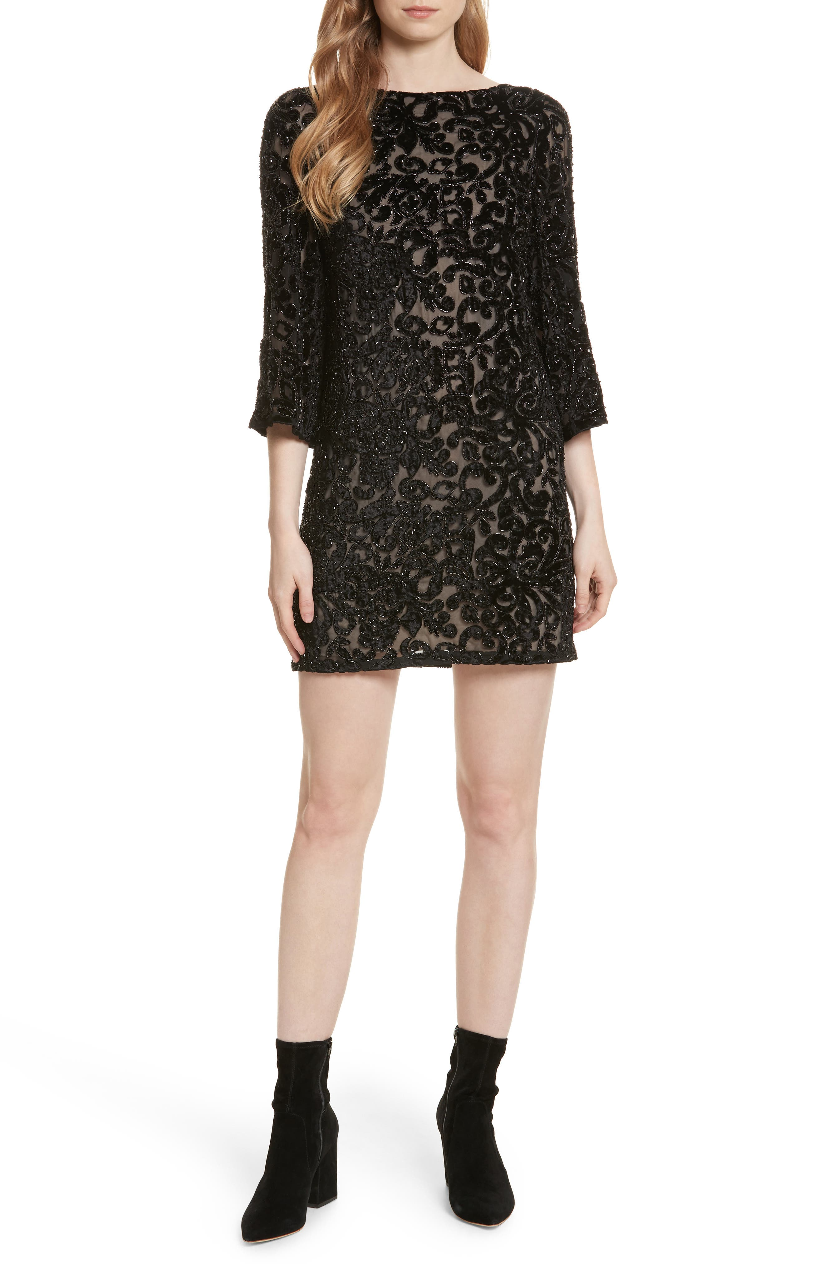 Riska Lace Bateau Neck Shift Dress,                             Main thumbnail 1, color,                             Black
