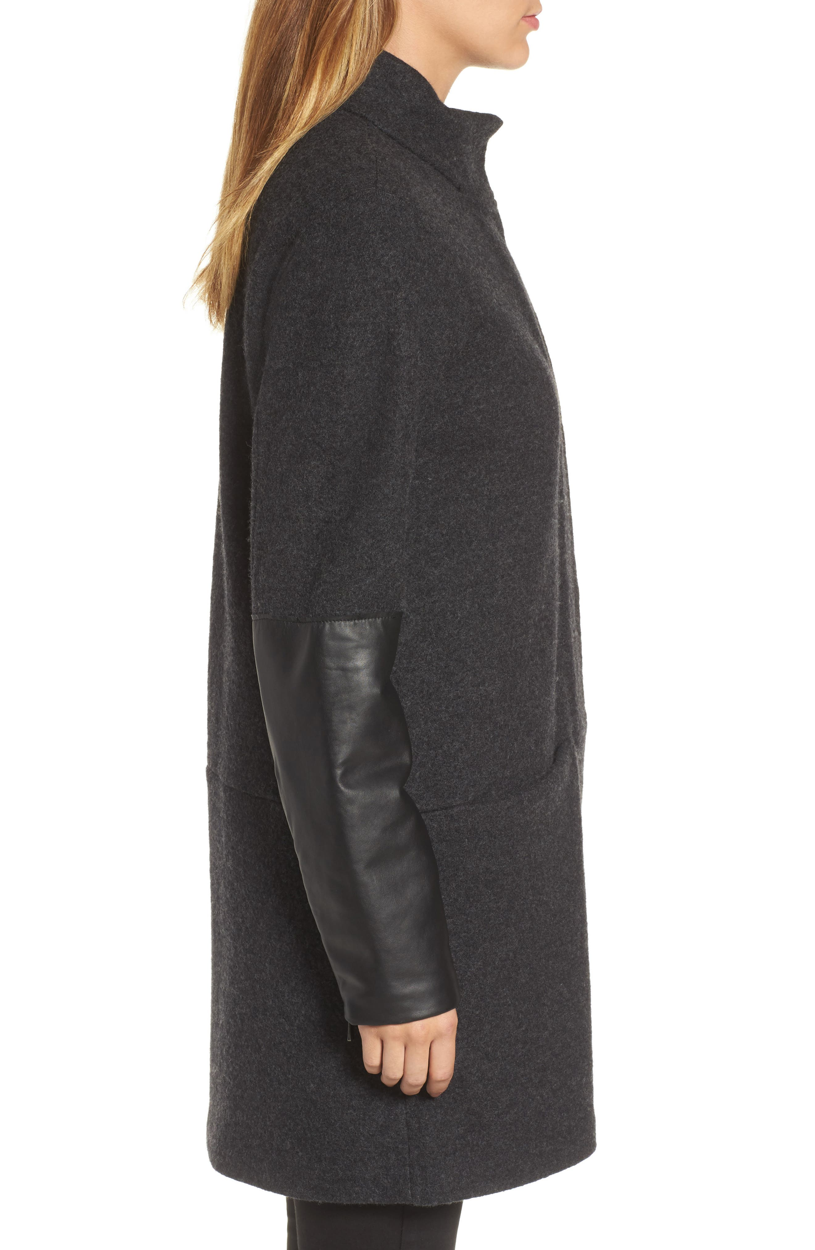 Leather Sleeve Wool Jacket,                             Alternate thumbnail 3, color,                             Charcoal