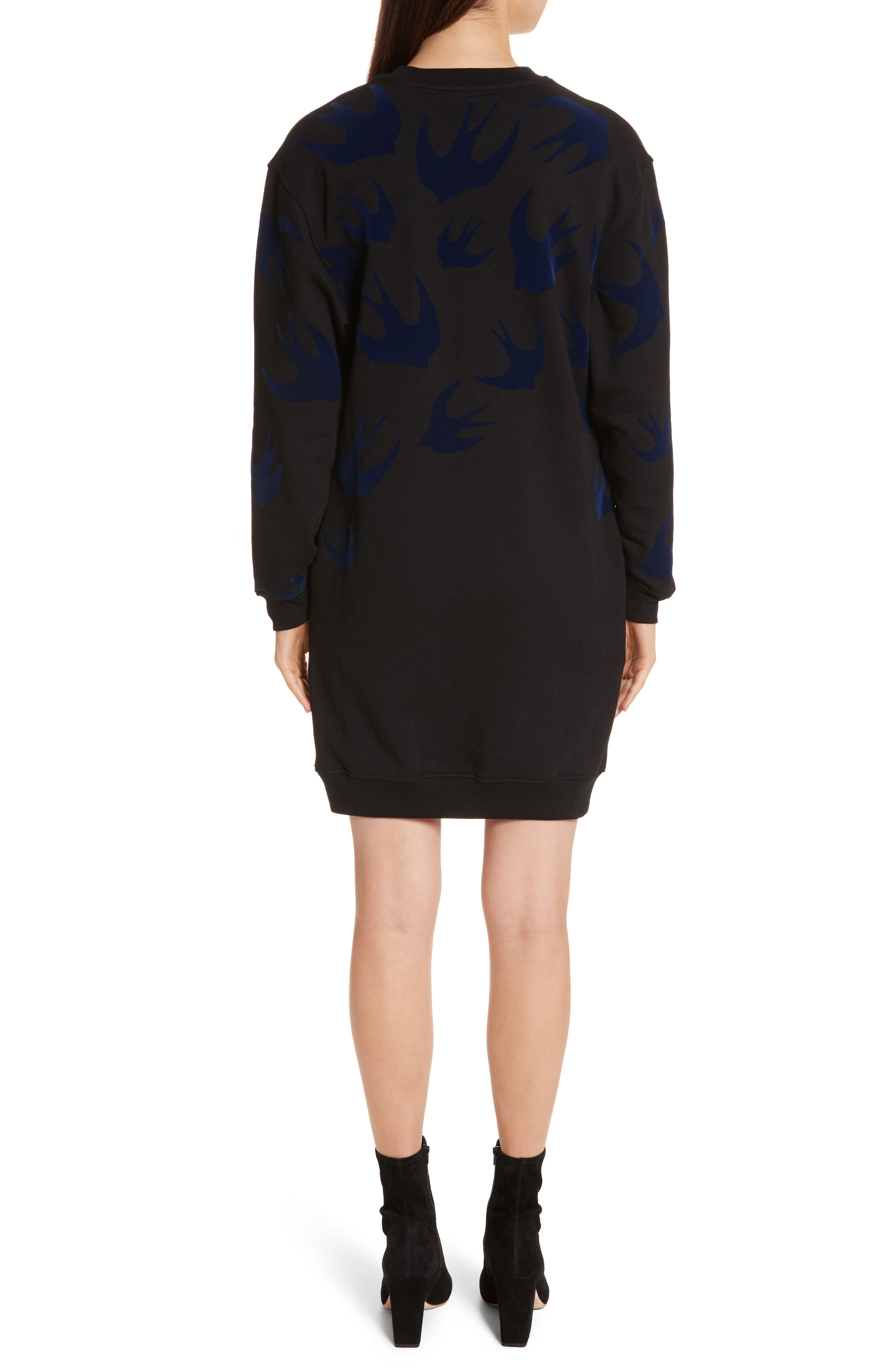 Swallow Classic Sweatshirt Dress,                             Alternate thumbnail 2, color,                             Black Multi