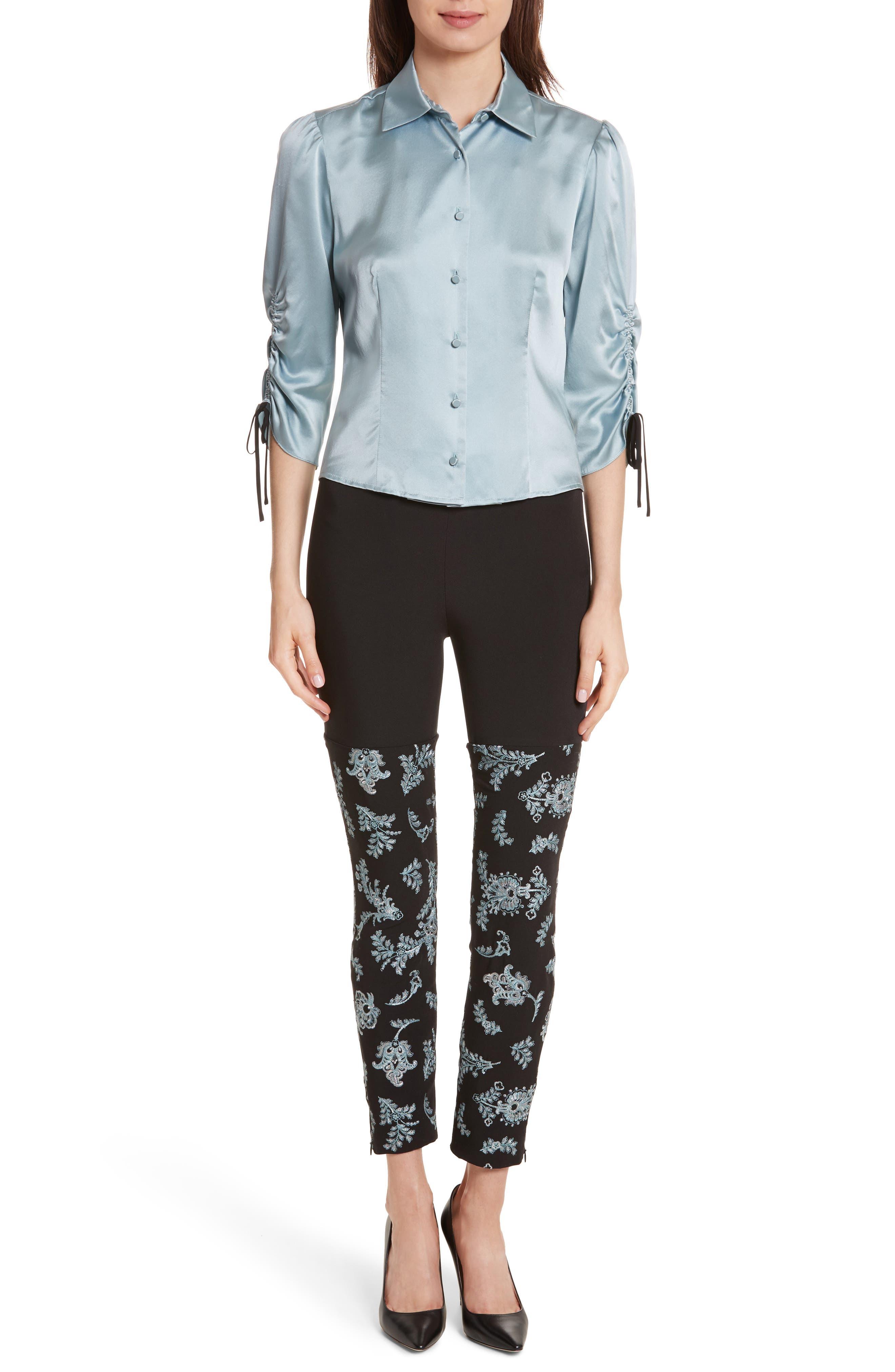 Marin Embroidered Leggings,                             Alternate thumbnail 2, color,                             Black/ Silver/ Sunshower
