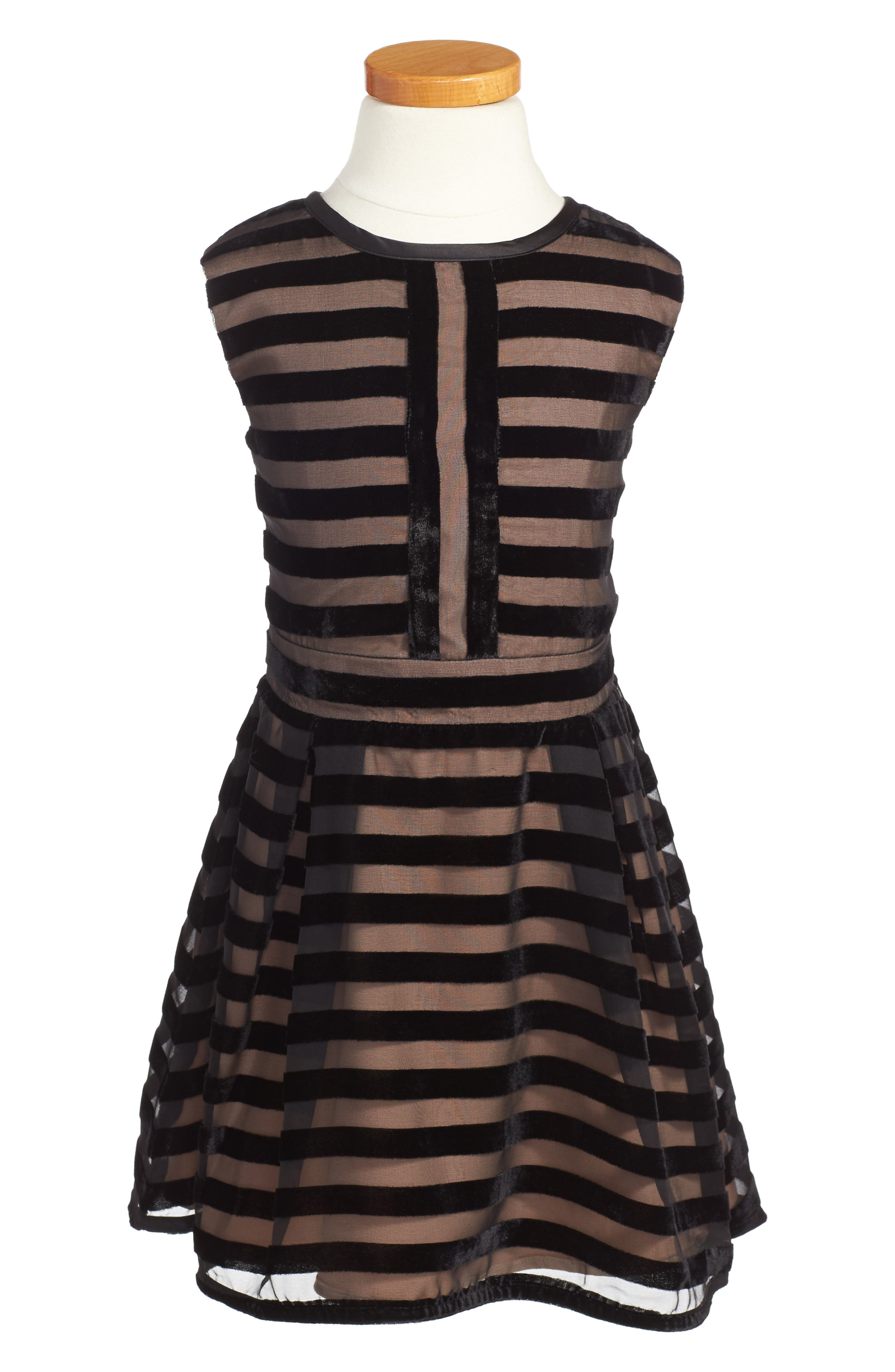 Monteau junior black and white striped dress