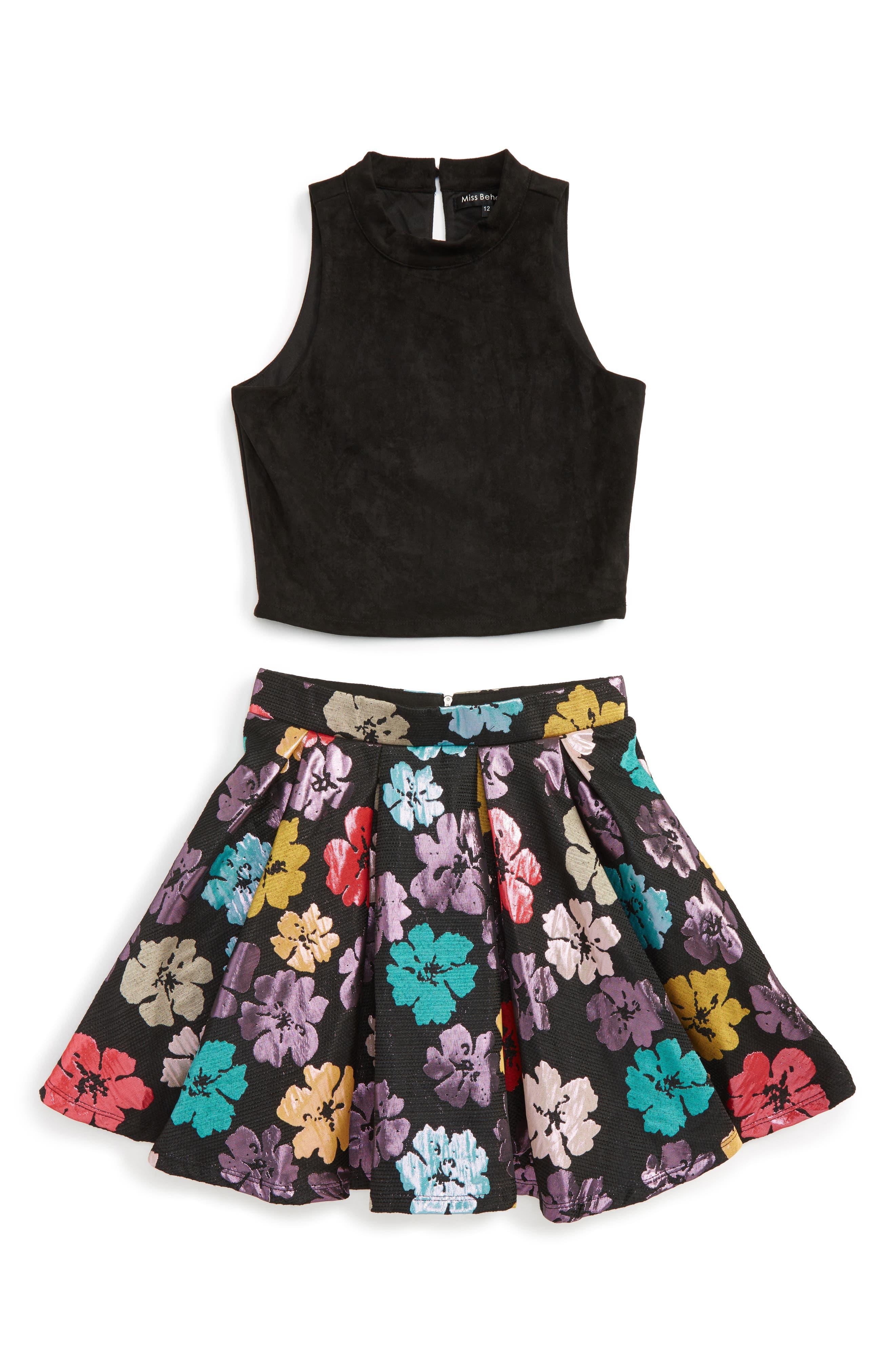 Miss Behave Savanna Meet & Greet Solid Top & Floral Skirt Set (Big Girls)
