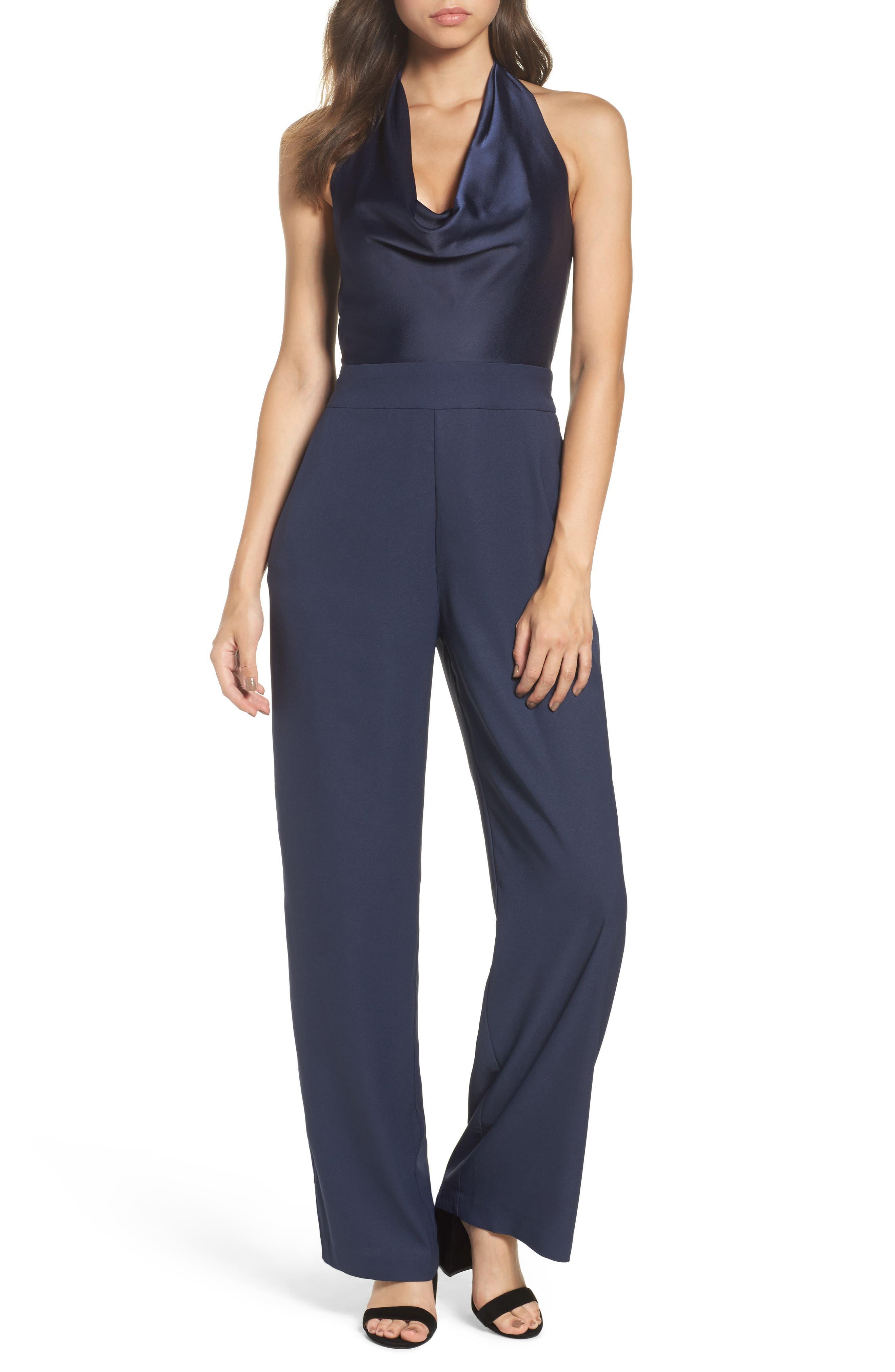 Cowl Neck Halter Jumpsuit,                         Main,                         color, Navy