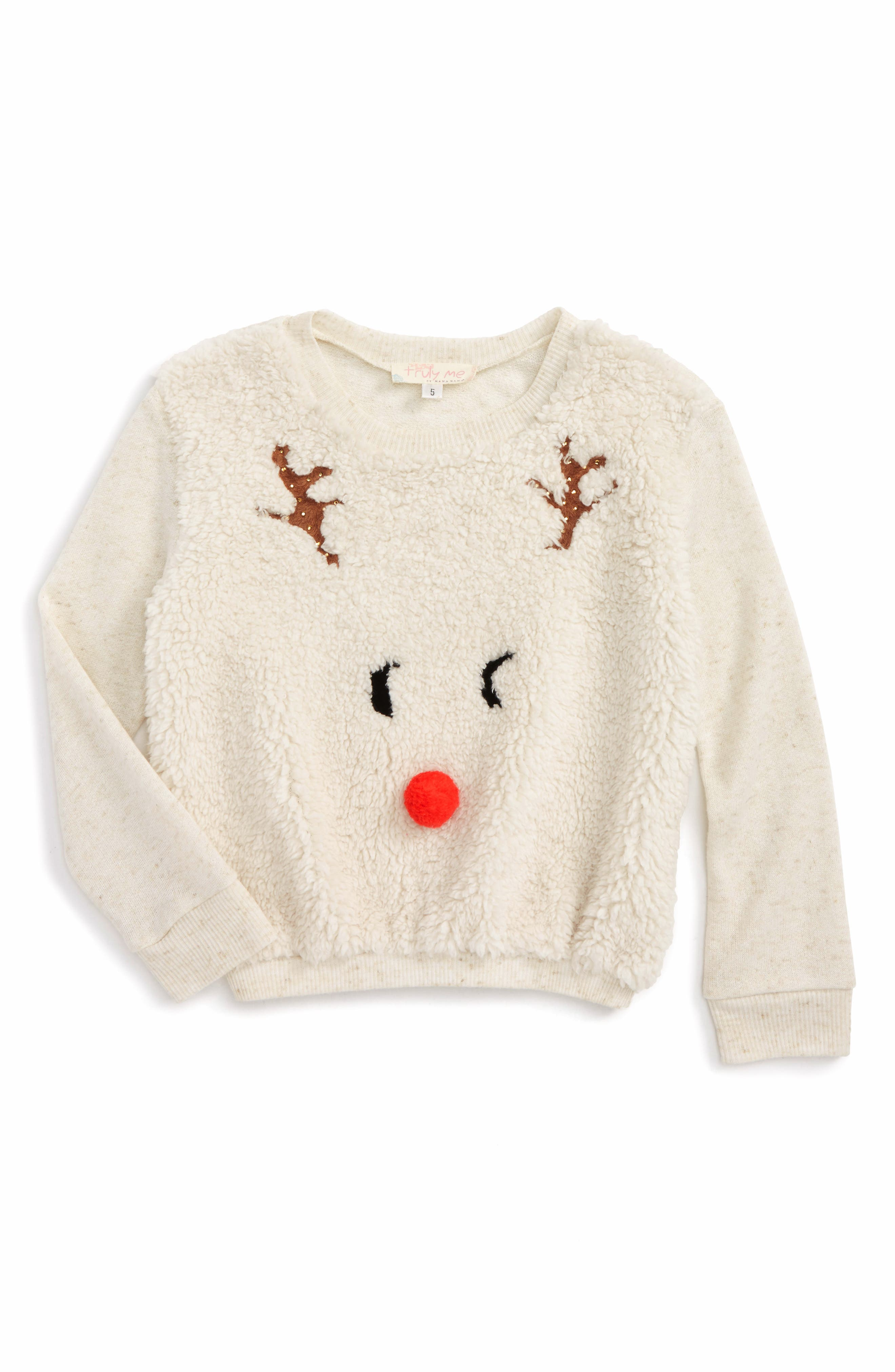Truly Me Reindeer Mixed Media Pullover (Toddler Girls & Little Girls)