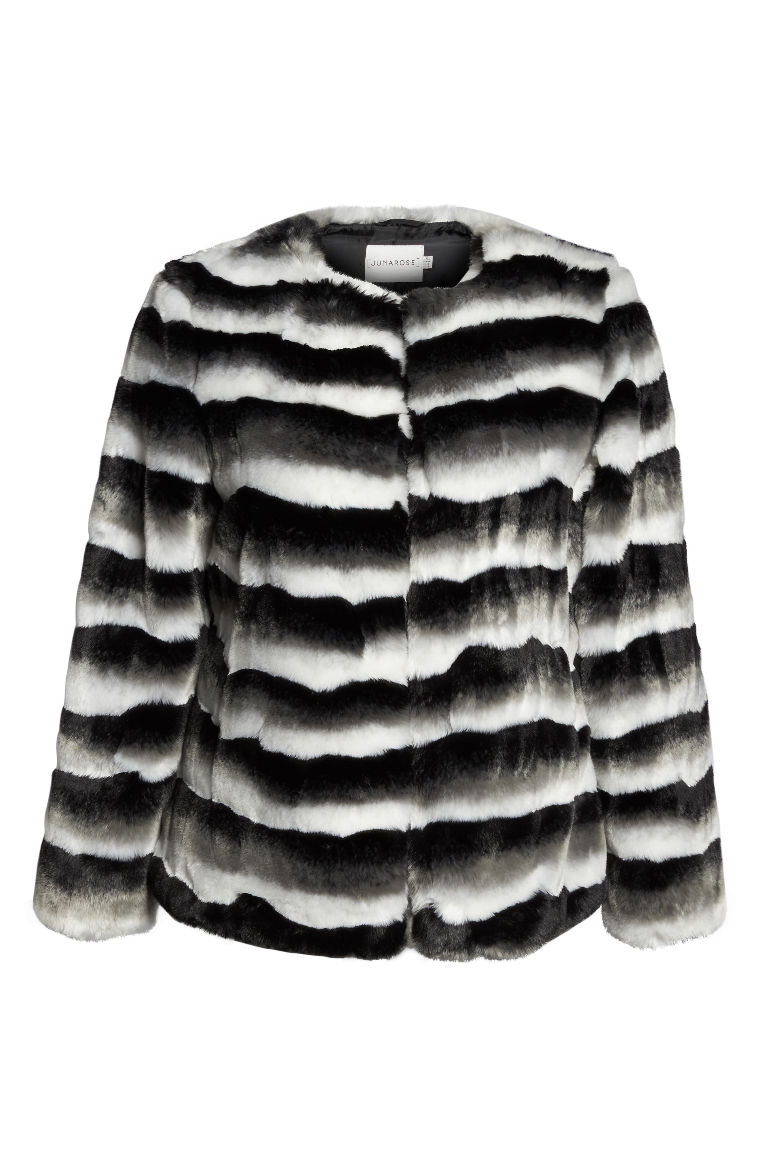 Stripe Faux Fur Jacket,                             Alternate thumbnail 6, color,                             Black Beauty