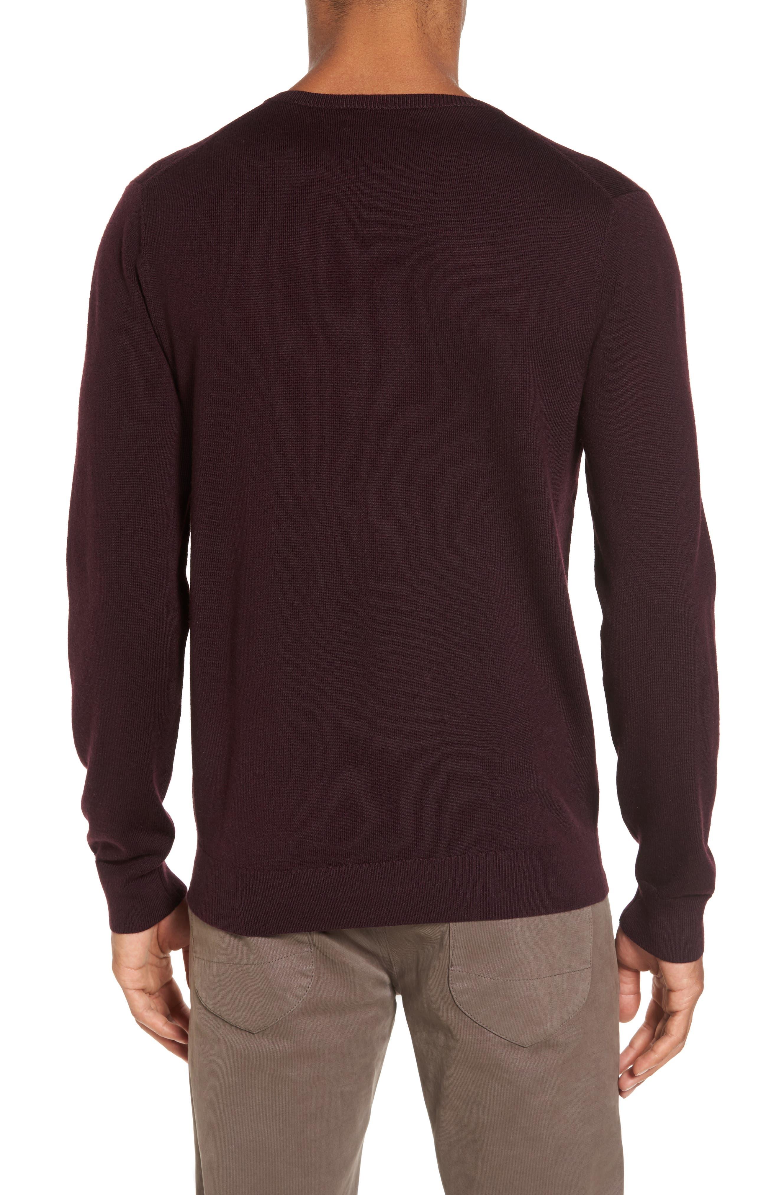 Merino V-Neck Sweater,                             Alternate thumbnail 2, color,                             Port