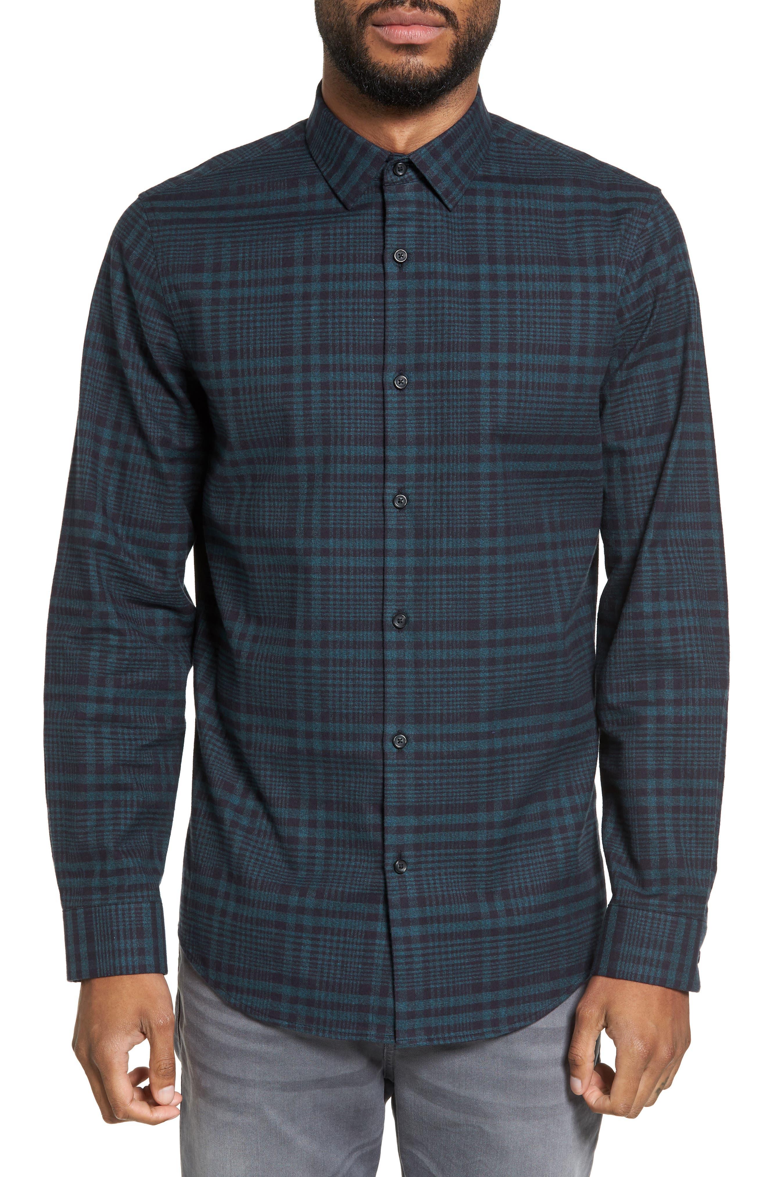Plaid Flannel Sport Shirt,                         Main,                         color, Black Green Plaid