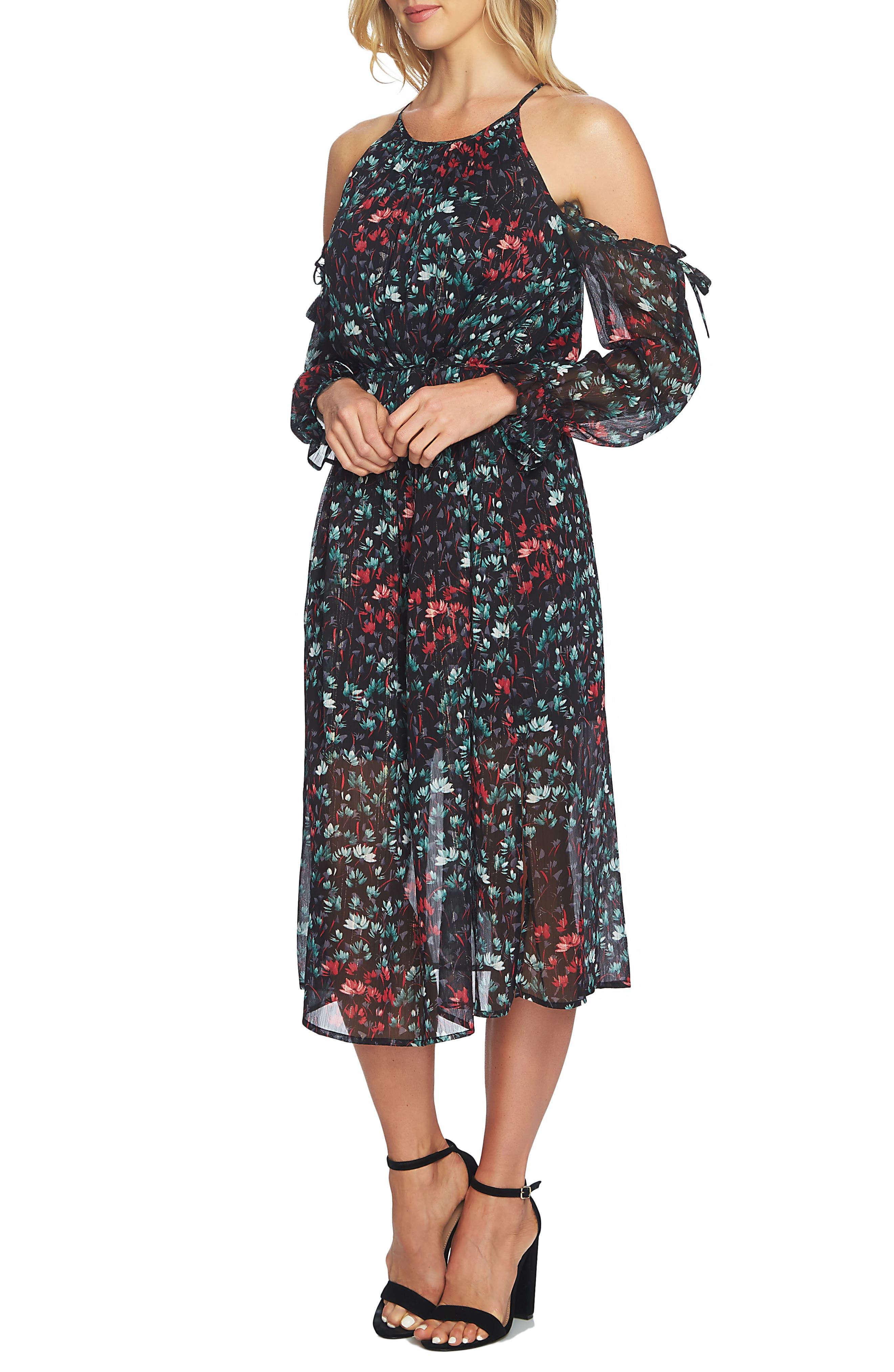 Cold Shoulder Midi Dress,                             Main thumbnail 1, color,                             Rich Black