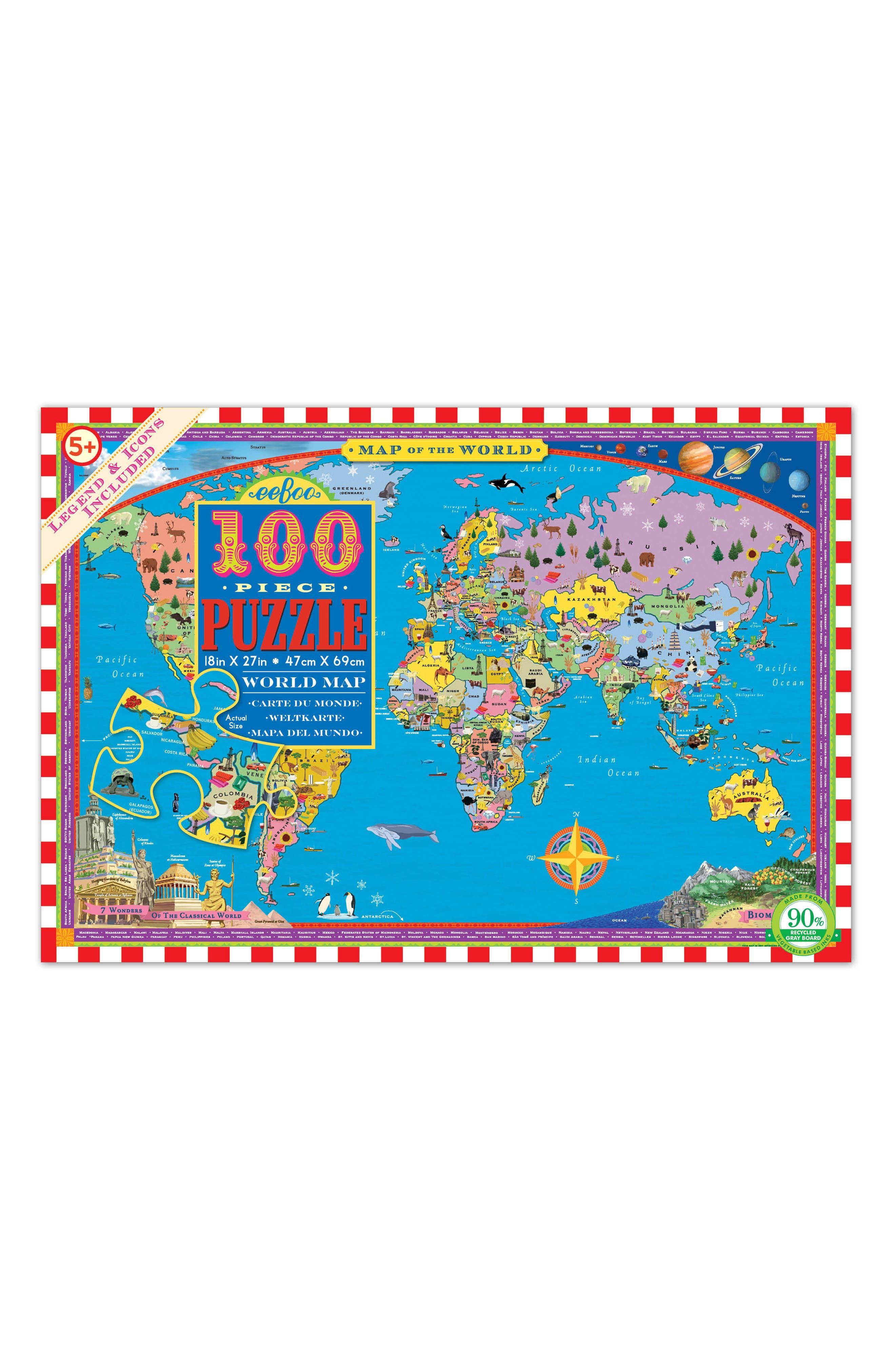eeBoo World Map Jigsaw Puzzle