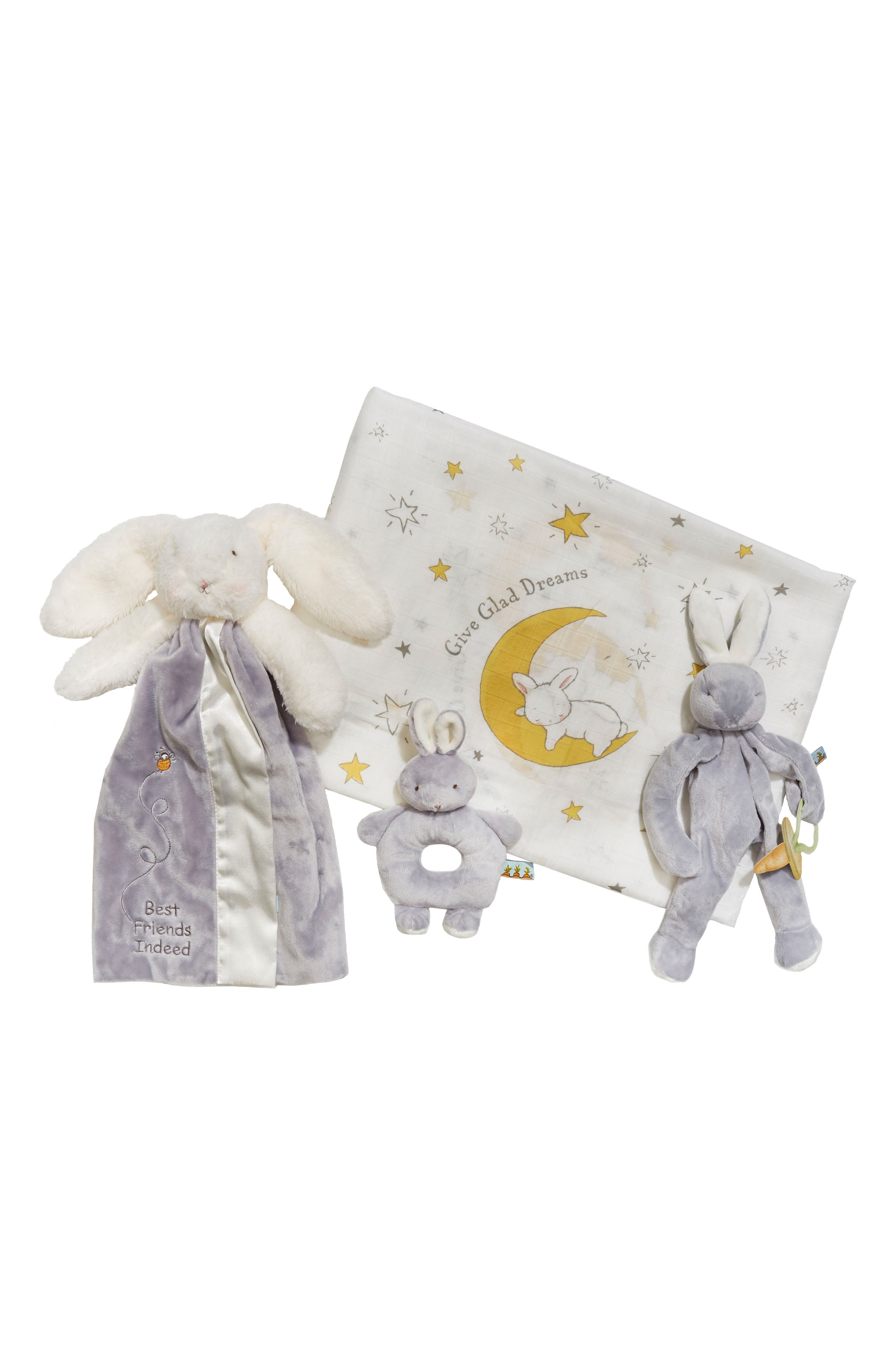 Swaddle, Buddy Blanket, Pacifier Holder & Teething Ring Rattle Set,                         Main,                         color, Grady Grey