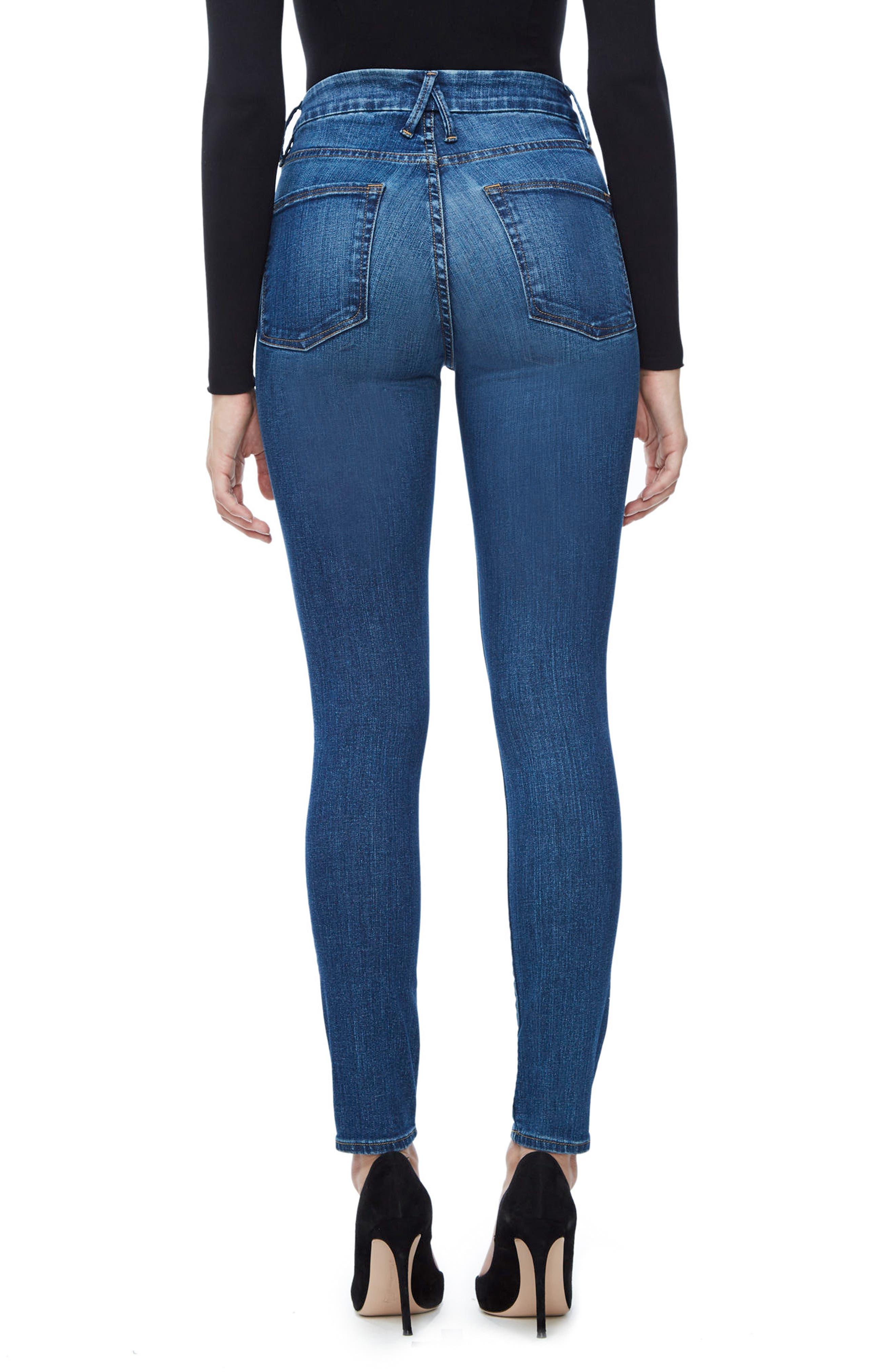 Alternate Image 2  - Good American Good Waist High Waist Skinny Jeans (Blue 093) (Extended Sizes)